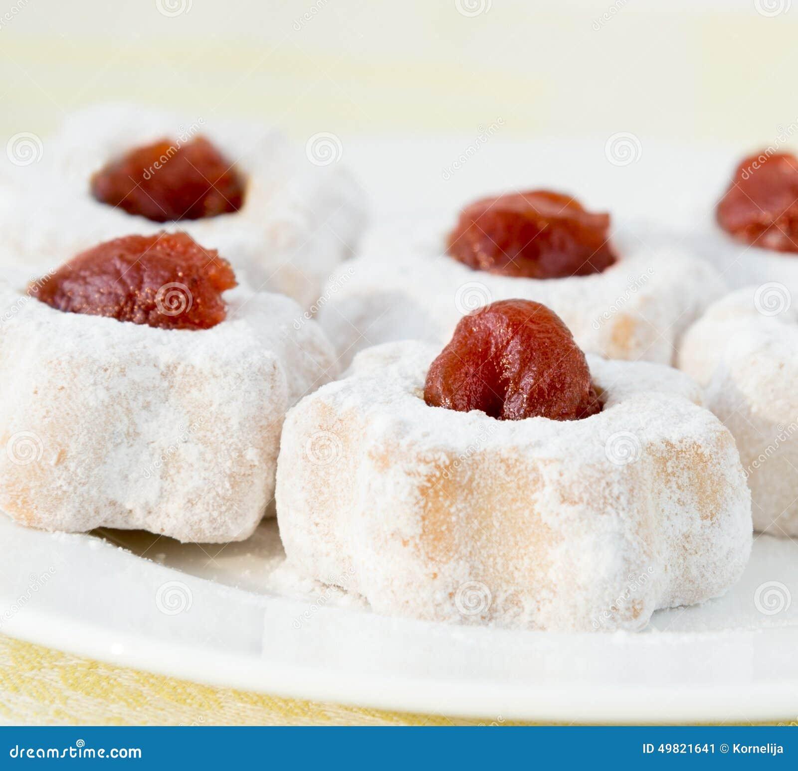 Cookies With Cherry Jam Stock Photo - Image: 49821641