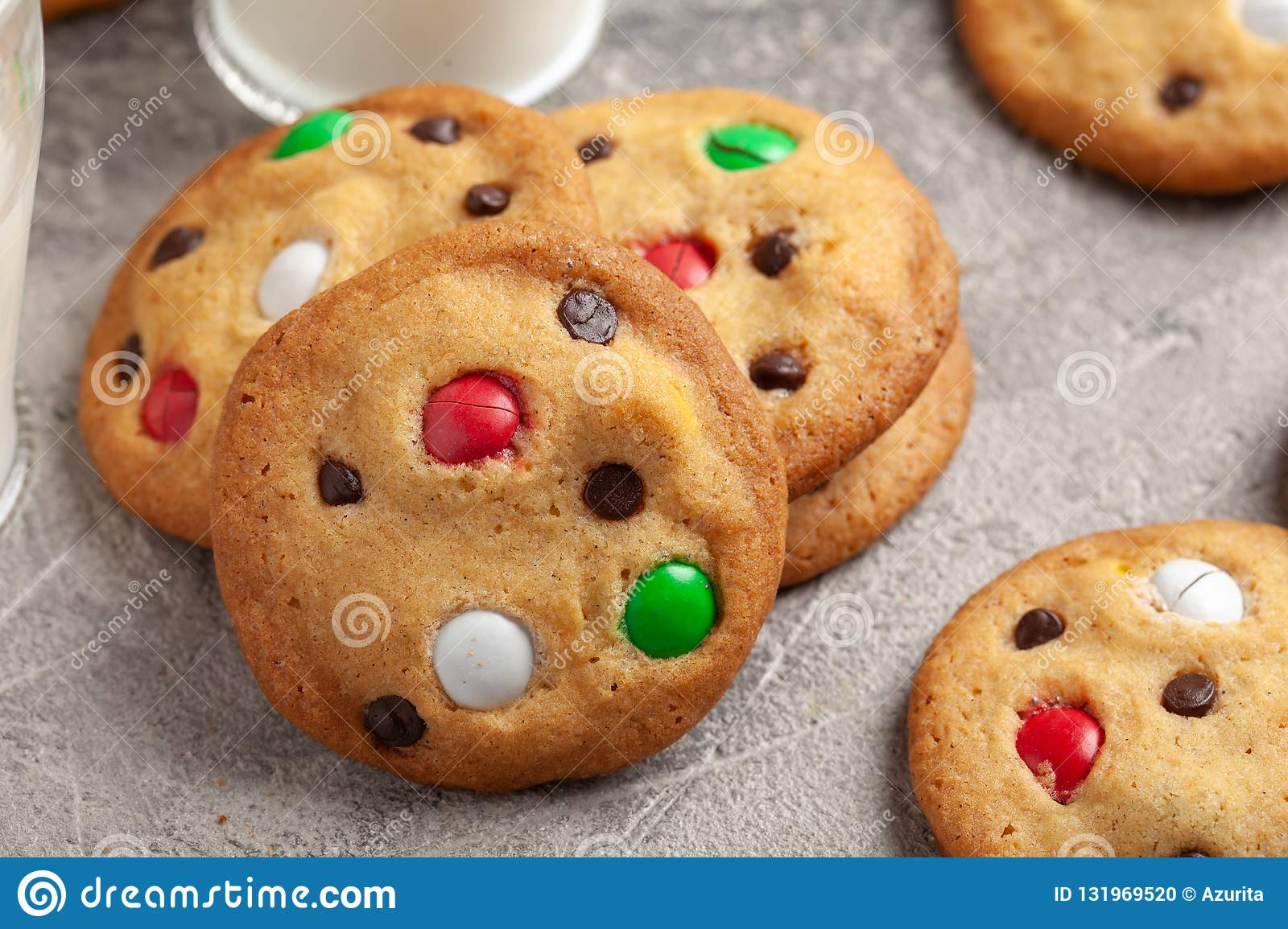 Cookies With Chocolate Candy Sprinkles Stock Photo Image Of Pastry