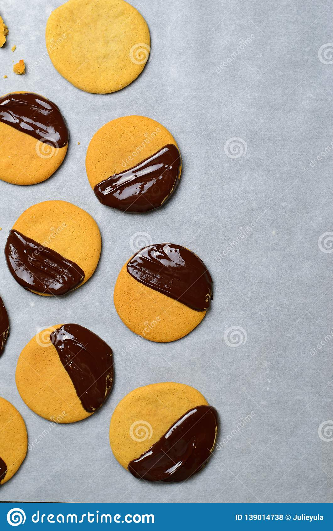 Cookies with Chocolate Glaze, Freshly Baked Cookies, Top View