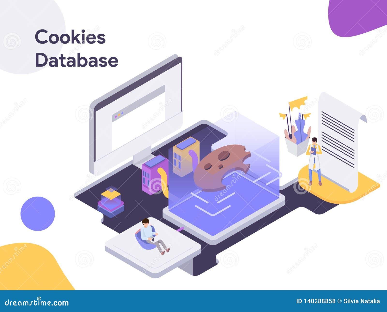 Cookies Database Isometric Illustration  Modern Flat Design