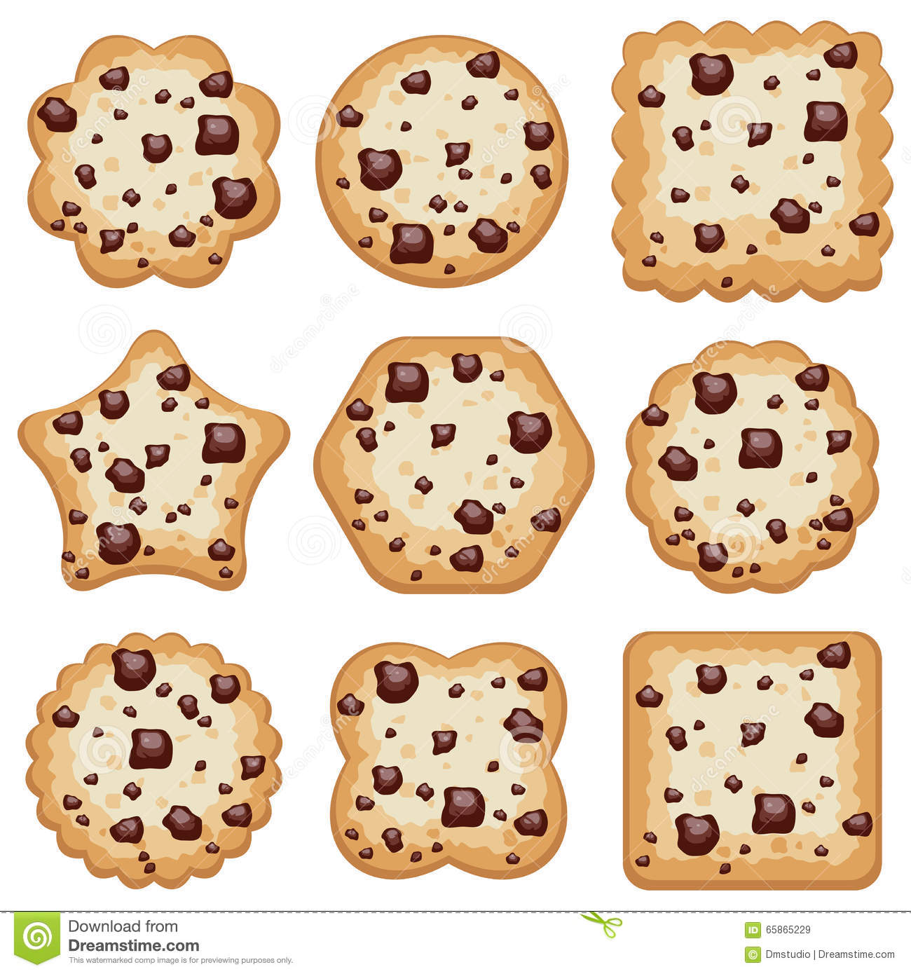 Cookies Of Different Shapes, Vector Stock Vector