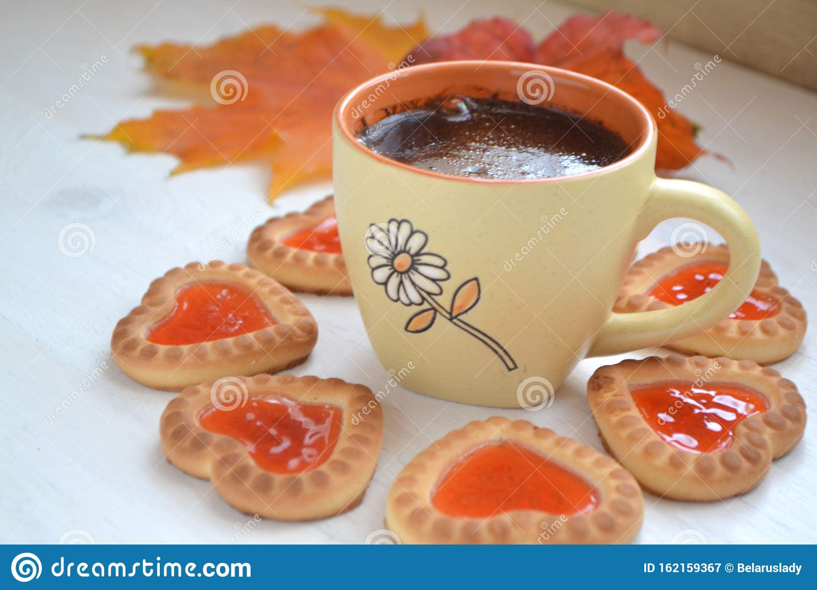 Cookies In Form Of Little Heart And Autumn Maple Leaf With Coffee Cup On Old Wooden Background Stock Image Image Of Shape Fall 162159367
