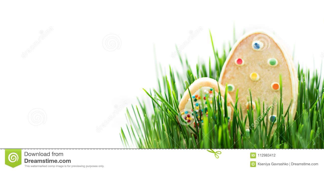 Cookies in the Image of Easter Eggs on the Grass. Isolated