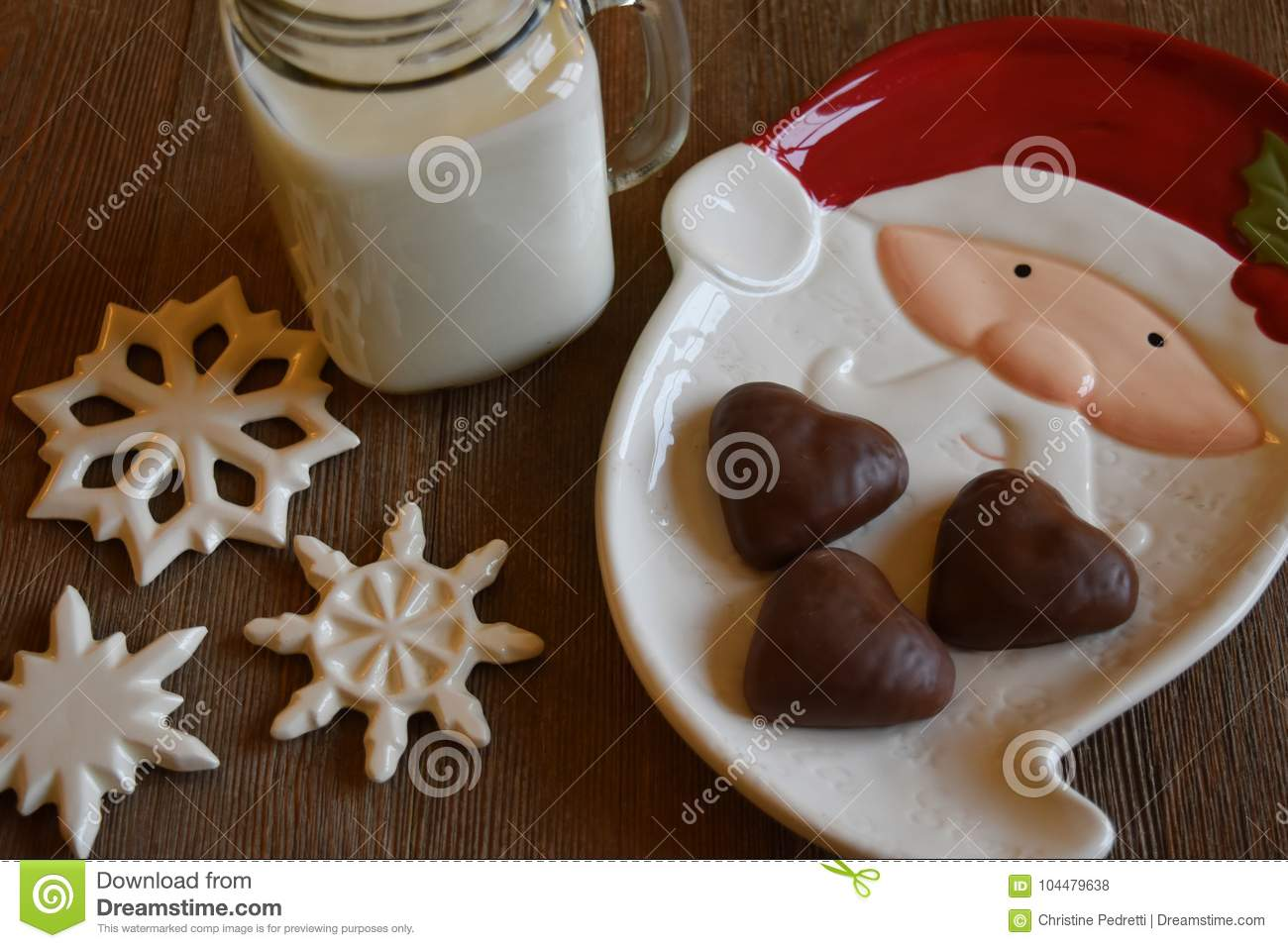 Cookies And Milk For Santa Stock Photo Image Of Plate 104479638