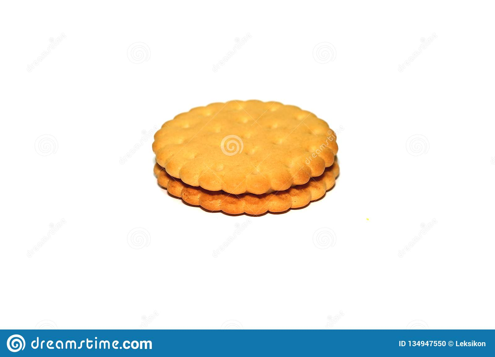 Sweet Brown Cookie Isolated On White Background Stock Photo Image