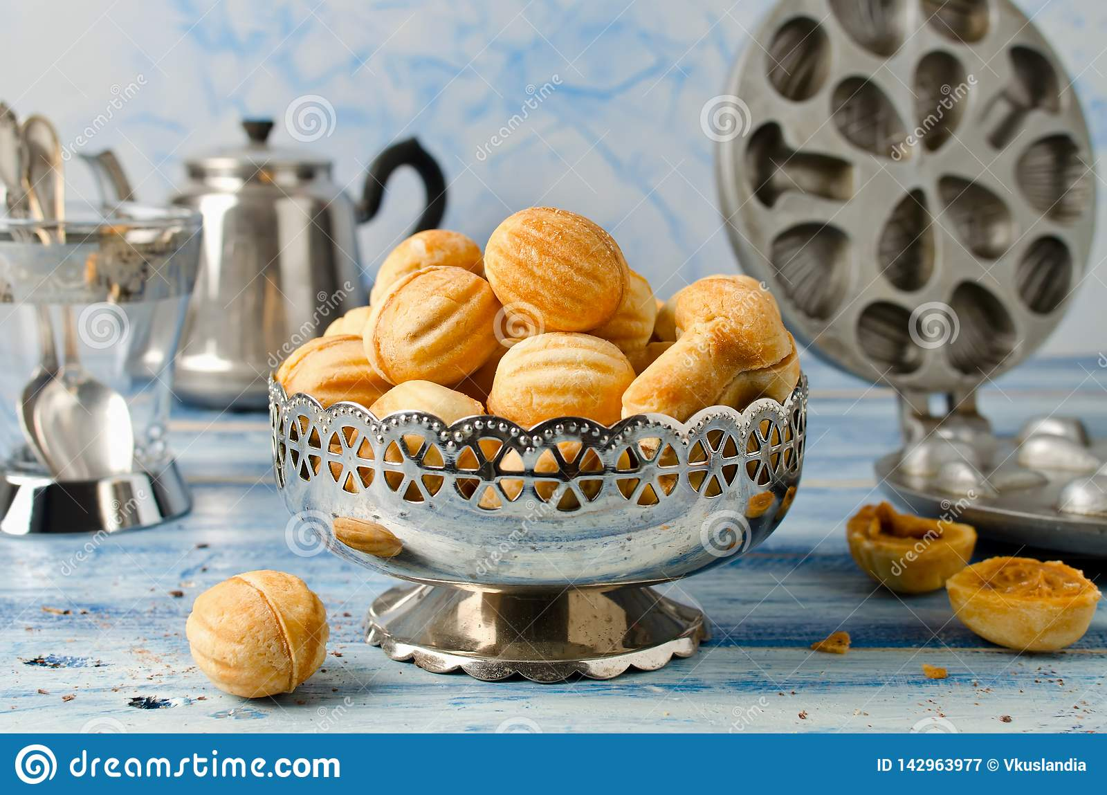 Cookies `Nuts` with condensed milk and nuts