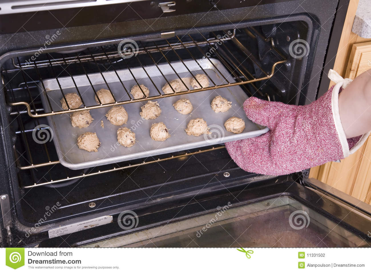 Cookies In Oven Stock Photo Image Of Cookie Sheet