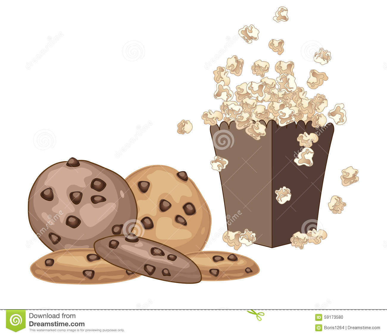 Image result for clipart of cookies and popcorn