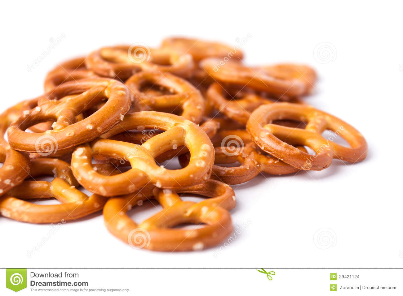 Cookies pretzels on a white background