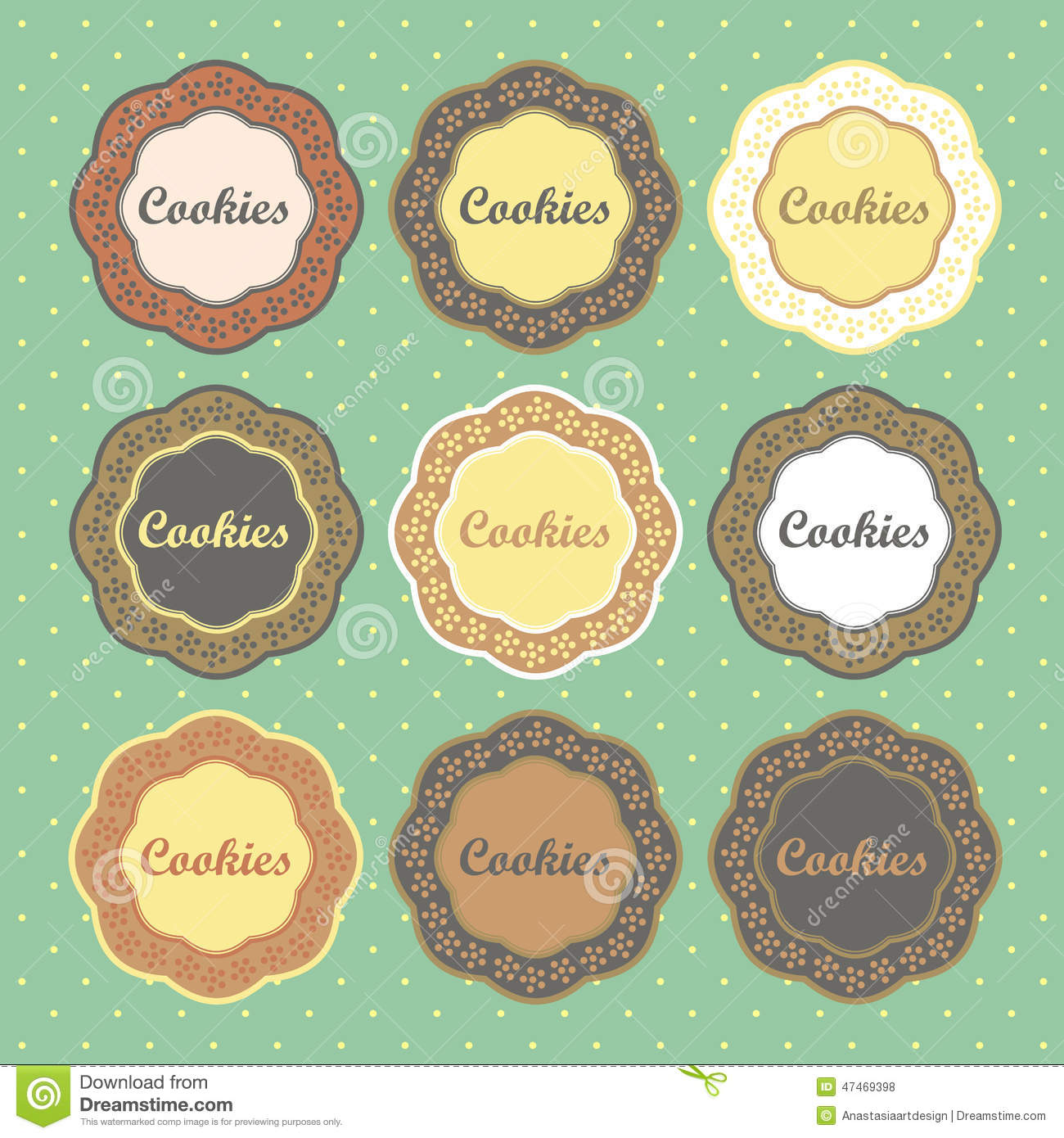 Cookies Retro Style Labels Collection Stock Vector Image