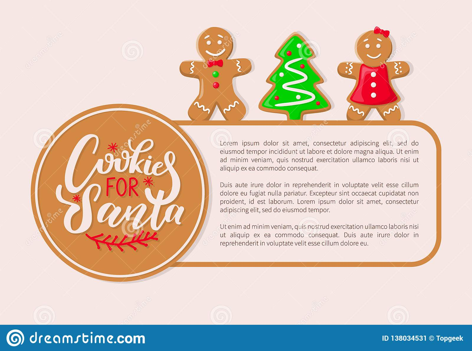 Homemade Iced Gingerbread Biscuits Cookies Stock Illustrations 2