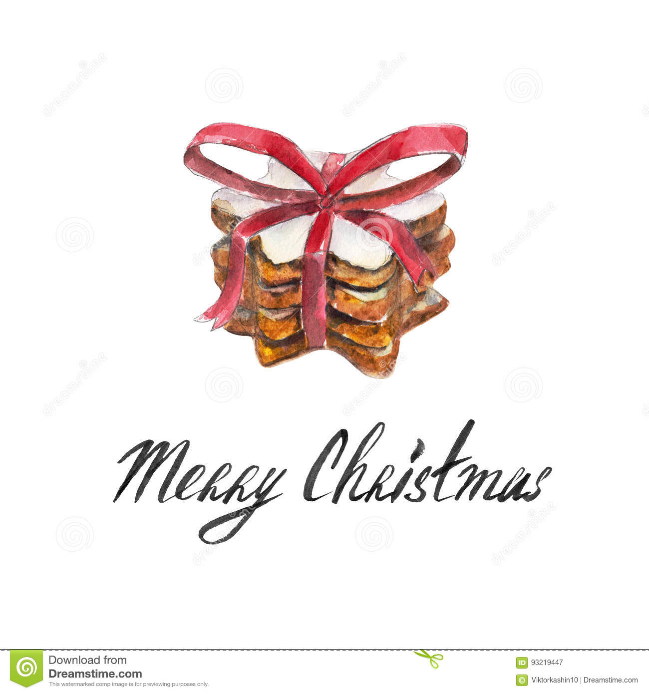 The cookies stack with red ribbon, bow isolated on white background and lettering `Merry Christmas`, watercolor illustration.