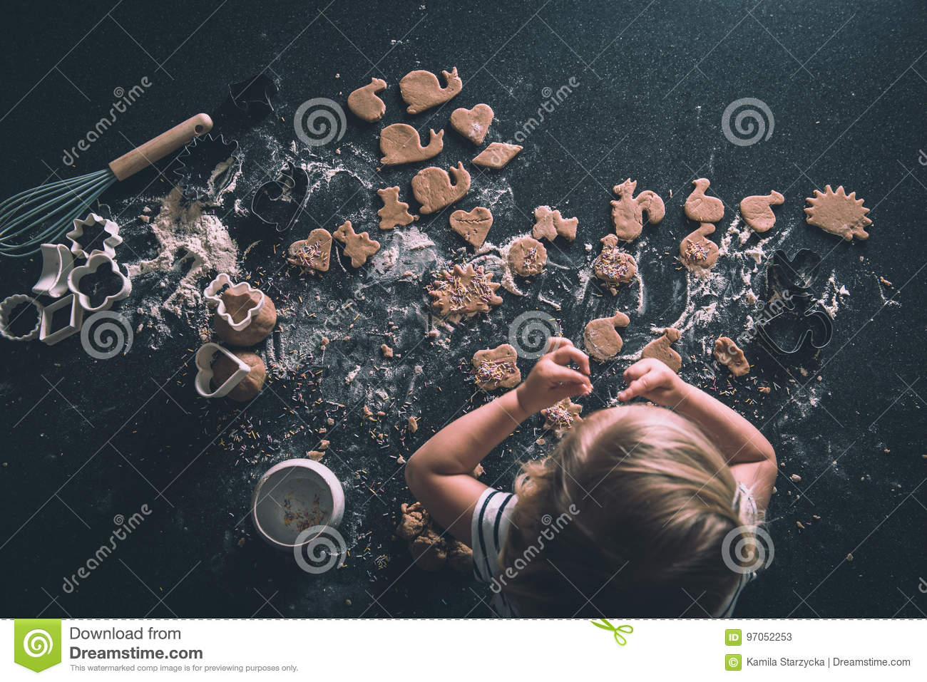 Download Cookies on a worktop stock image. Image of mess, cakes - 97052253