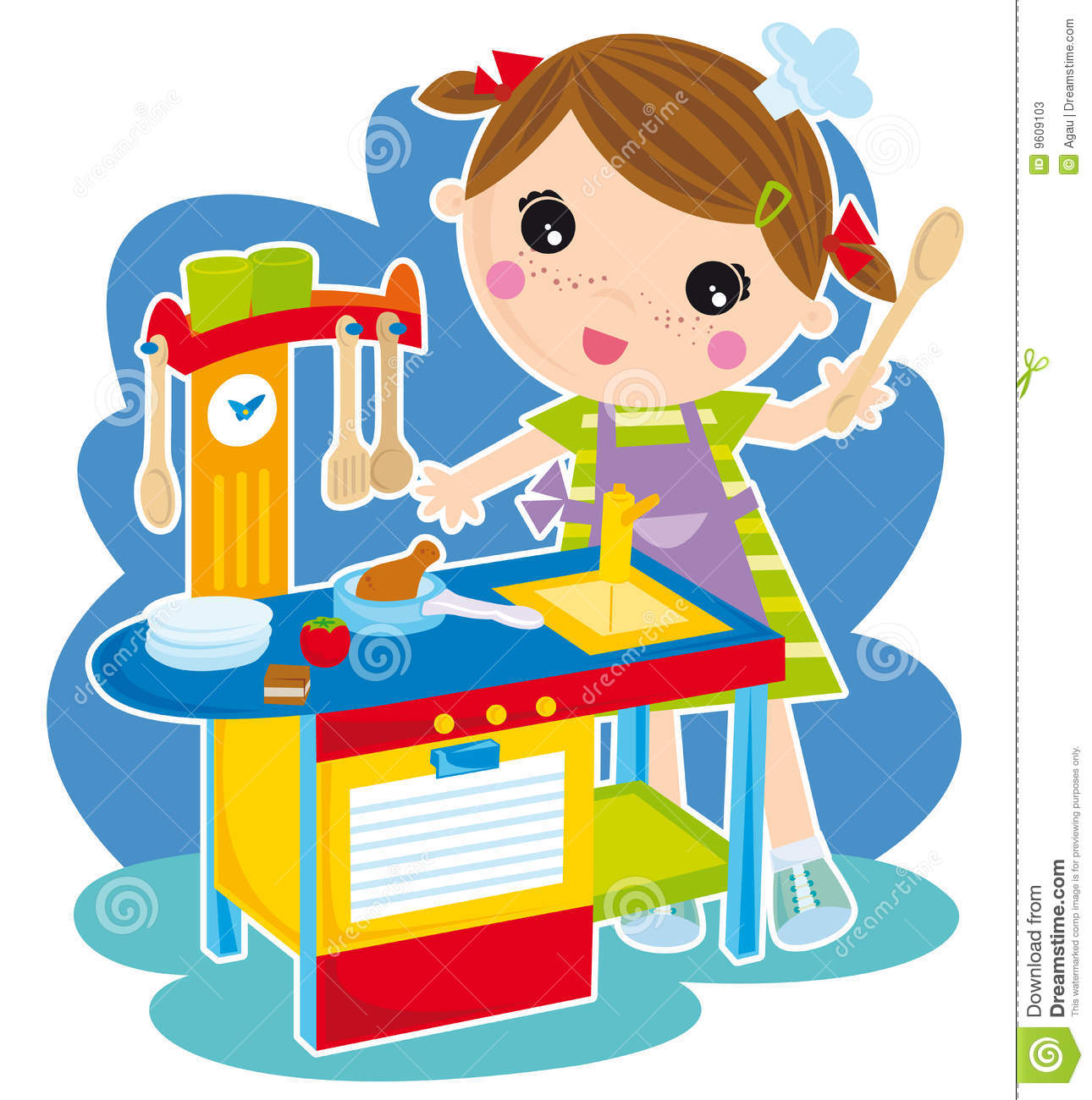 Illustration of little girl play cooking.