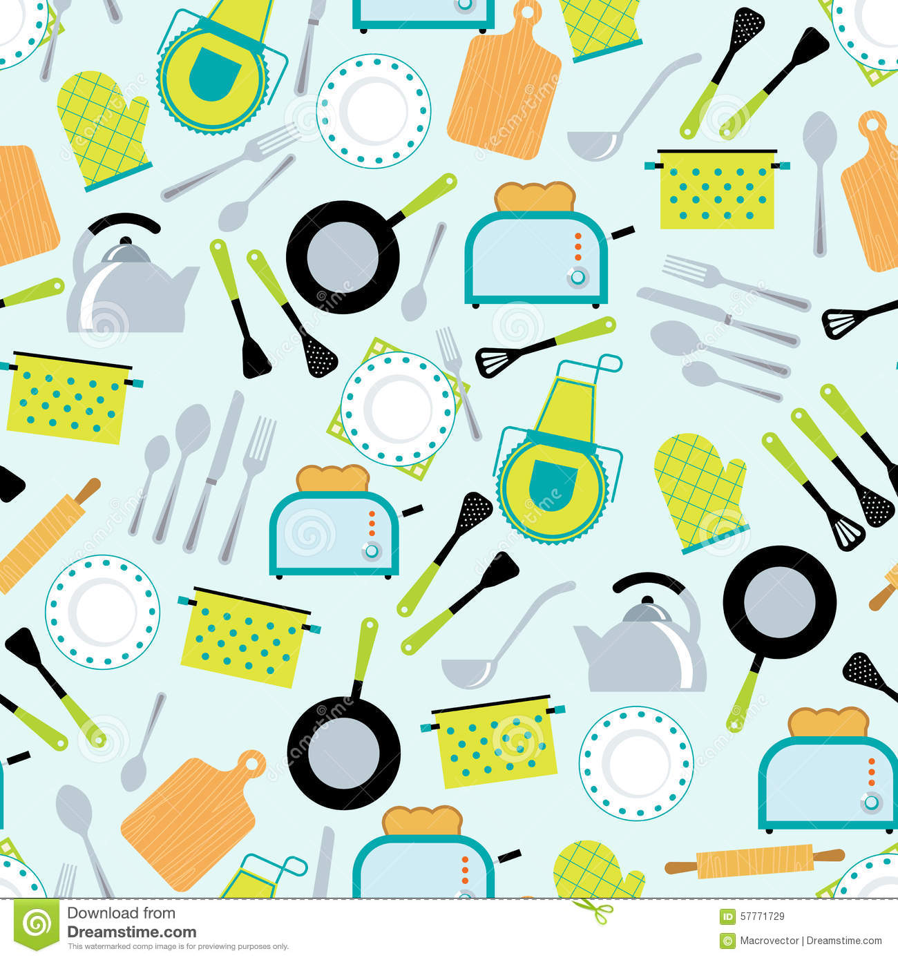 Kitchen Utensils Wallpaper cooking accessories seamless pattern stock vector - image: 57771729