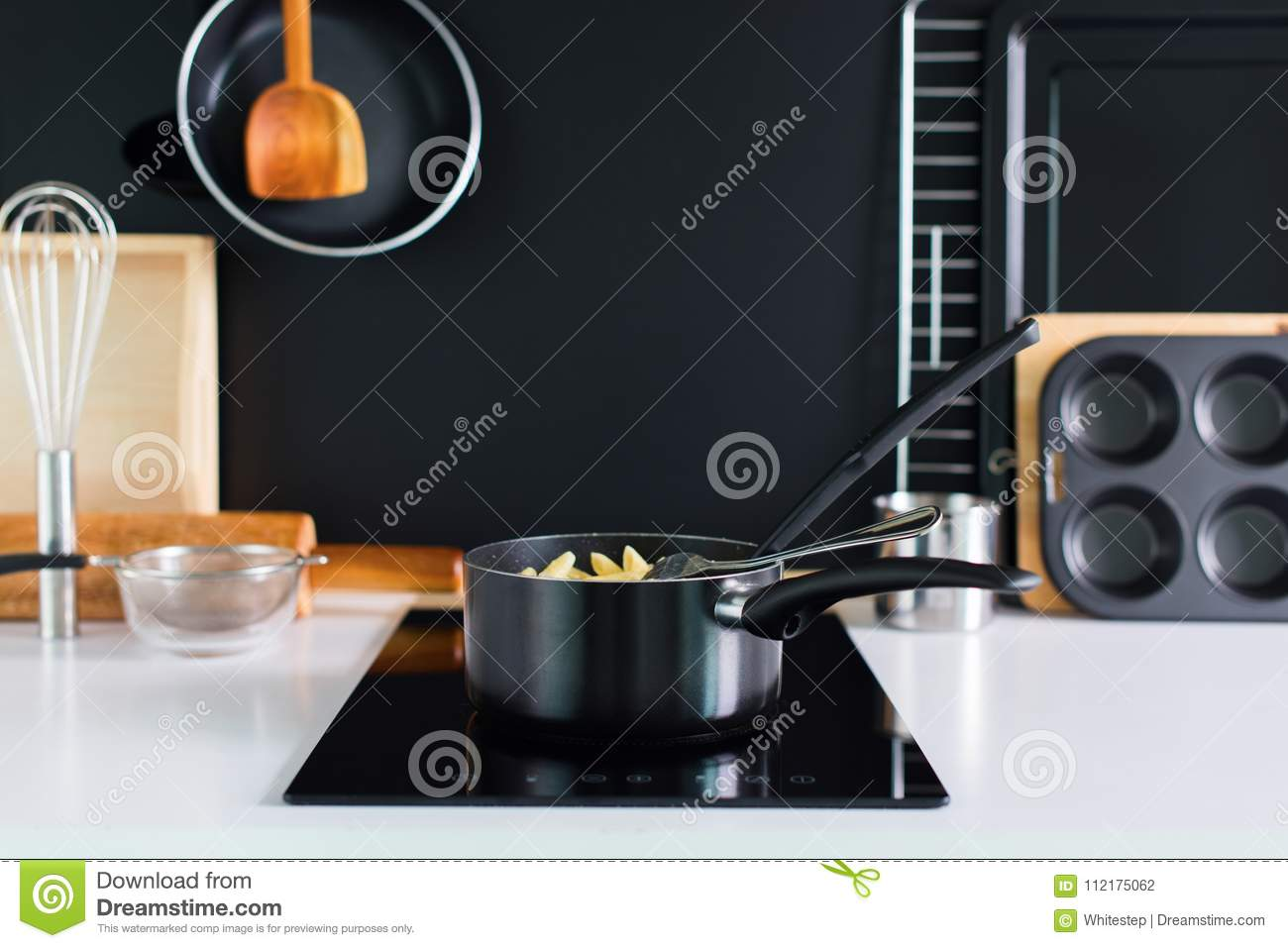 Cooking Accessory Kitchen Composition Black Panel Stock ...