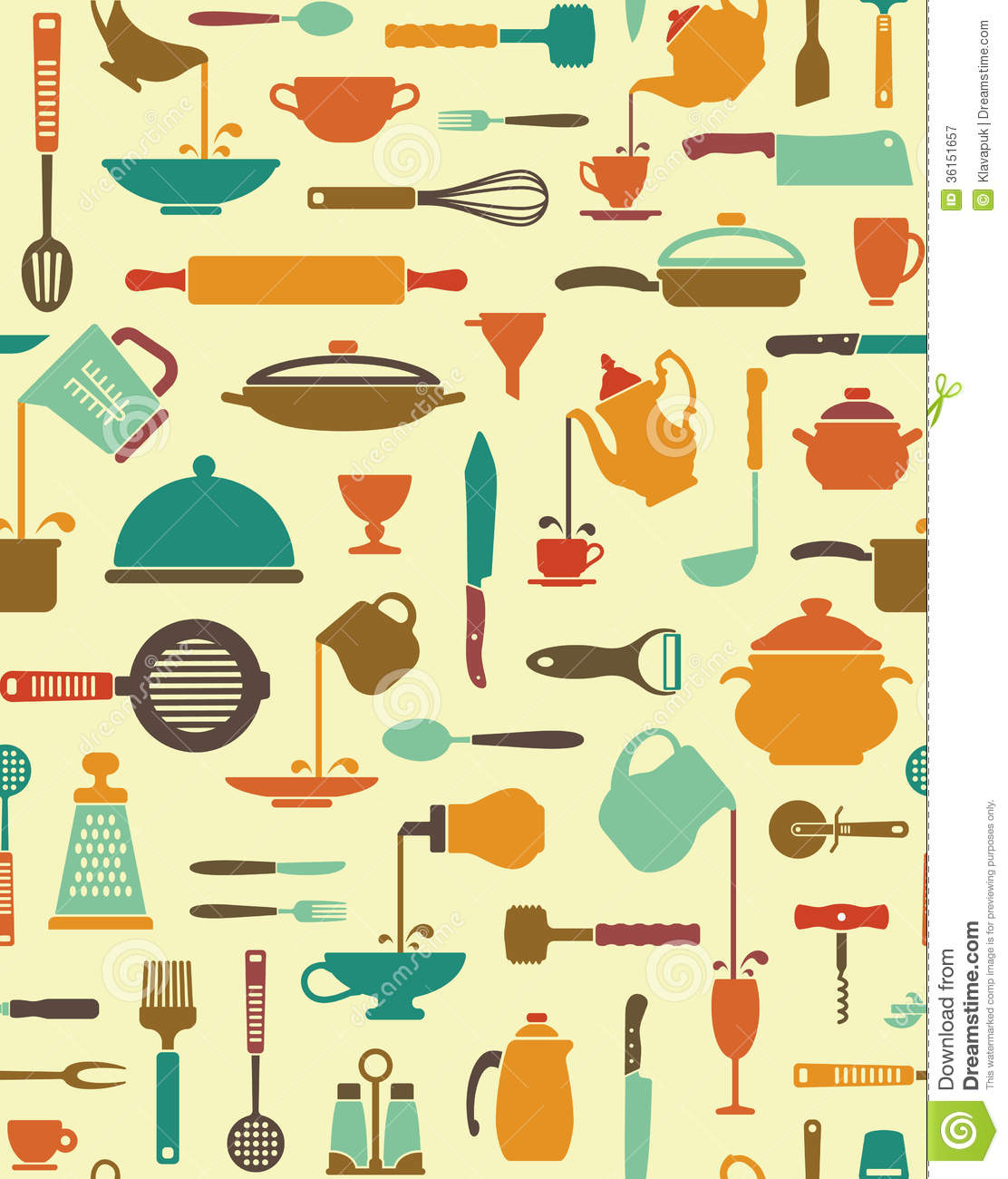 Kitchen Utensils Background: Cooking Background Stock Vector. Image Of Equipment