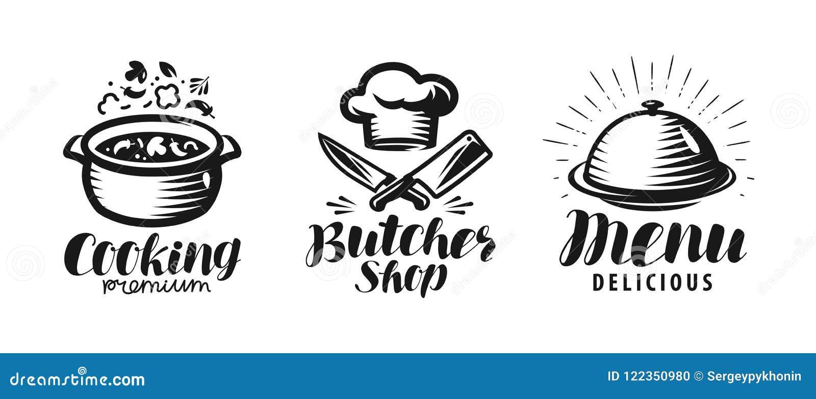 Cooking, butcher shop, menu logo or label. Food concept. Lettering vector illustration