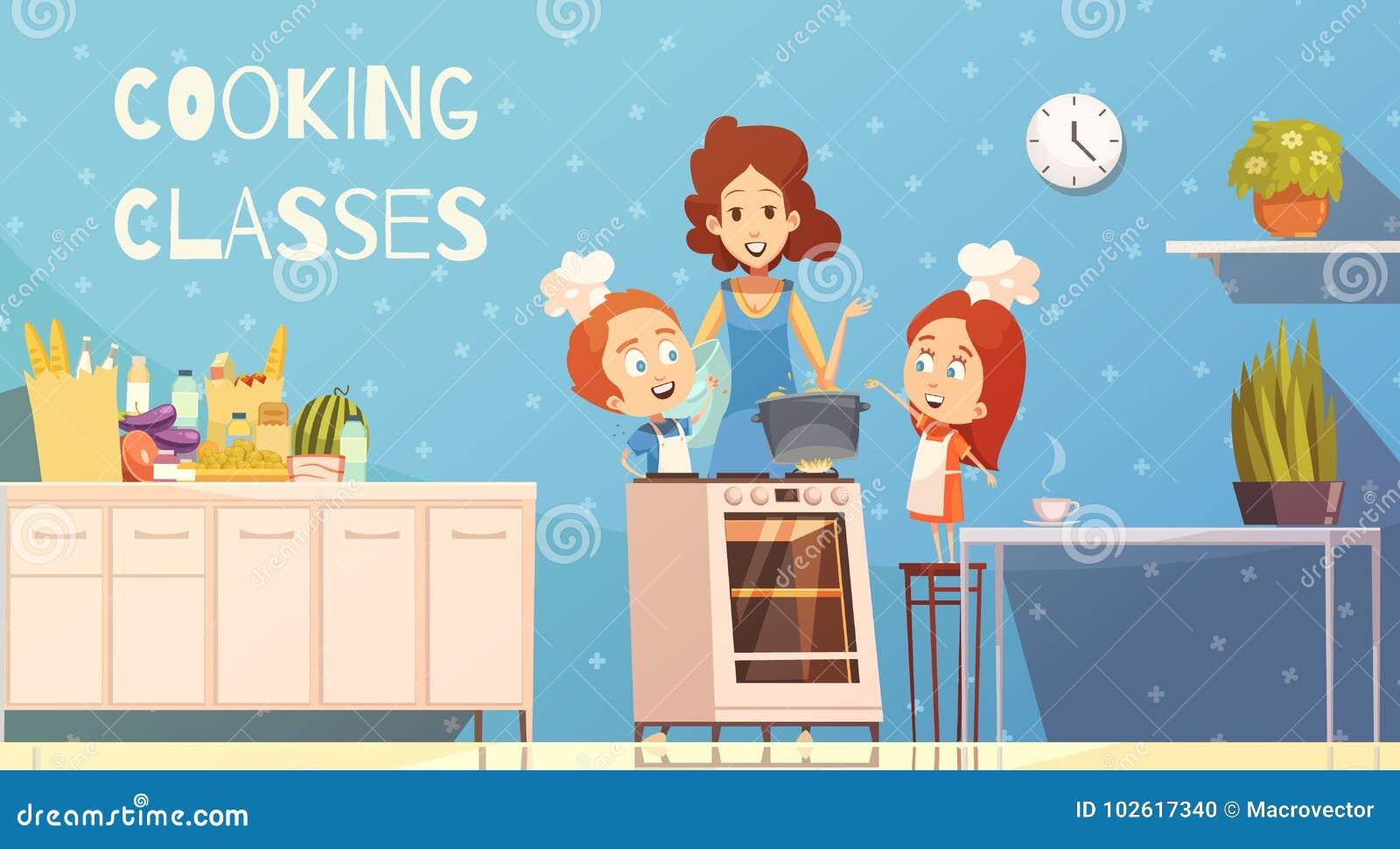 Cooking Classes For Children Vector Illustration Stock Vector ...