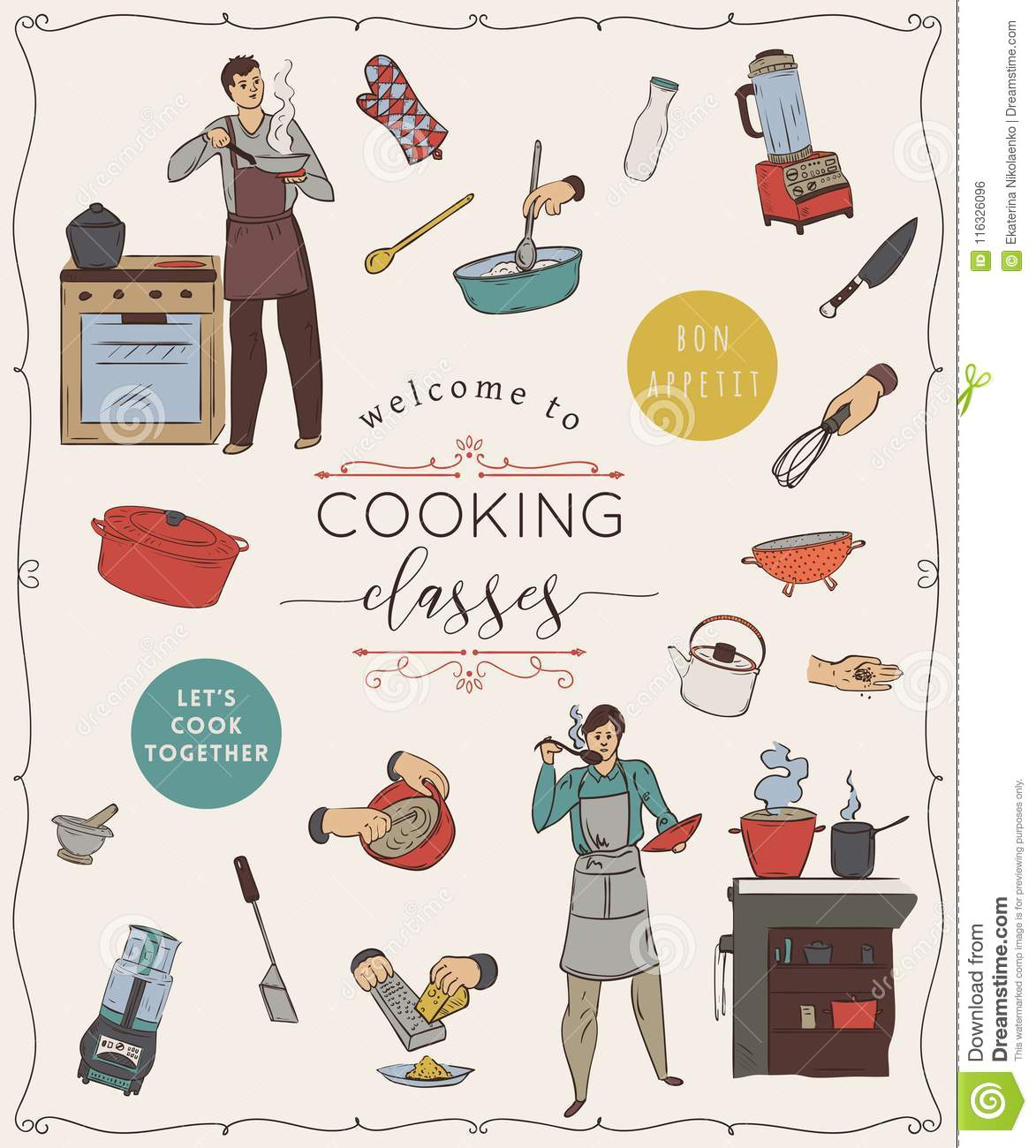 Cooking Classes.Design Template With People Preparing Meals, Kitchen ...
