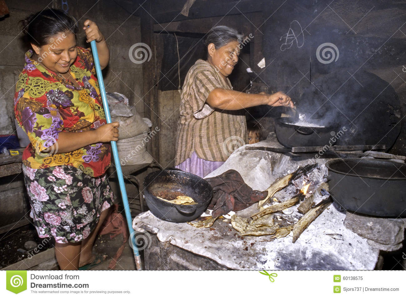 Cooking And Cleaning Women In Kitchen In Slum Editorial ...