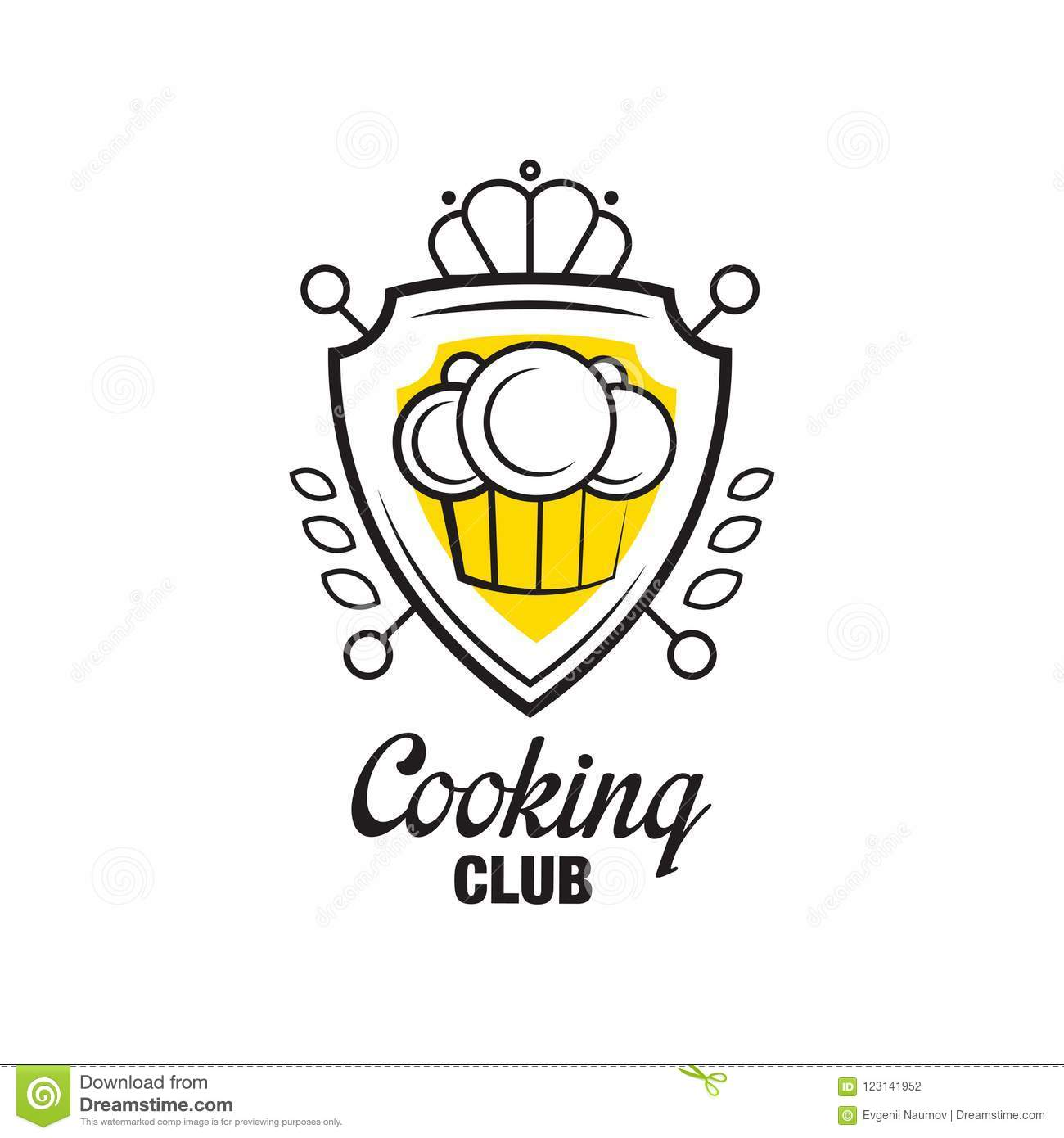 Cooking Club Logo Design Heraldic Shield With Chef Hat Badge Can