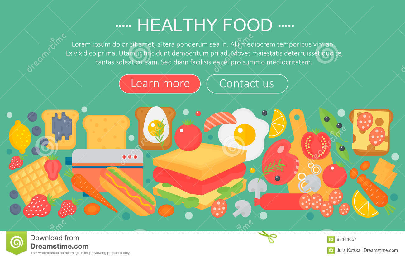 Food And Cooking Banner Cartoon Vector Cartoondealer Com