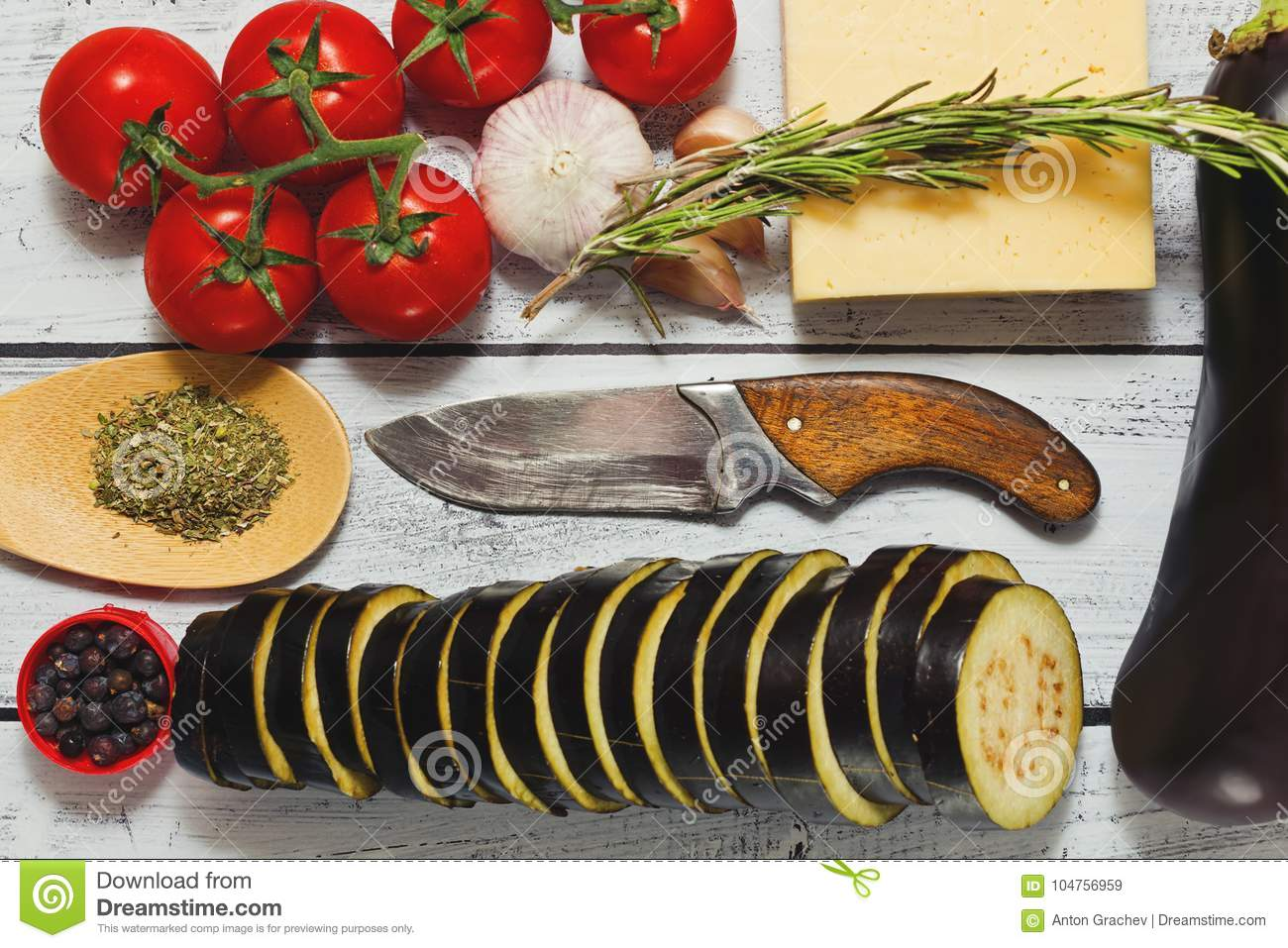 Ready For Cooking Eggplants With Tomatoes Stock Image Image Of Menu Organic 104756959