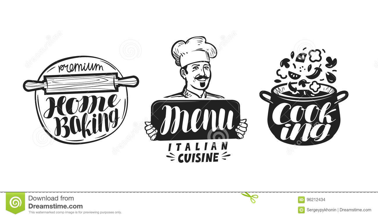 Cooking, cuisine logo. Icon and label for design menu restaurant or cafe. Handwritten lettering, calligraphy vector
