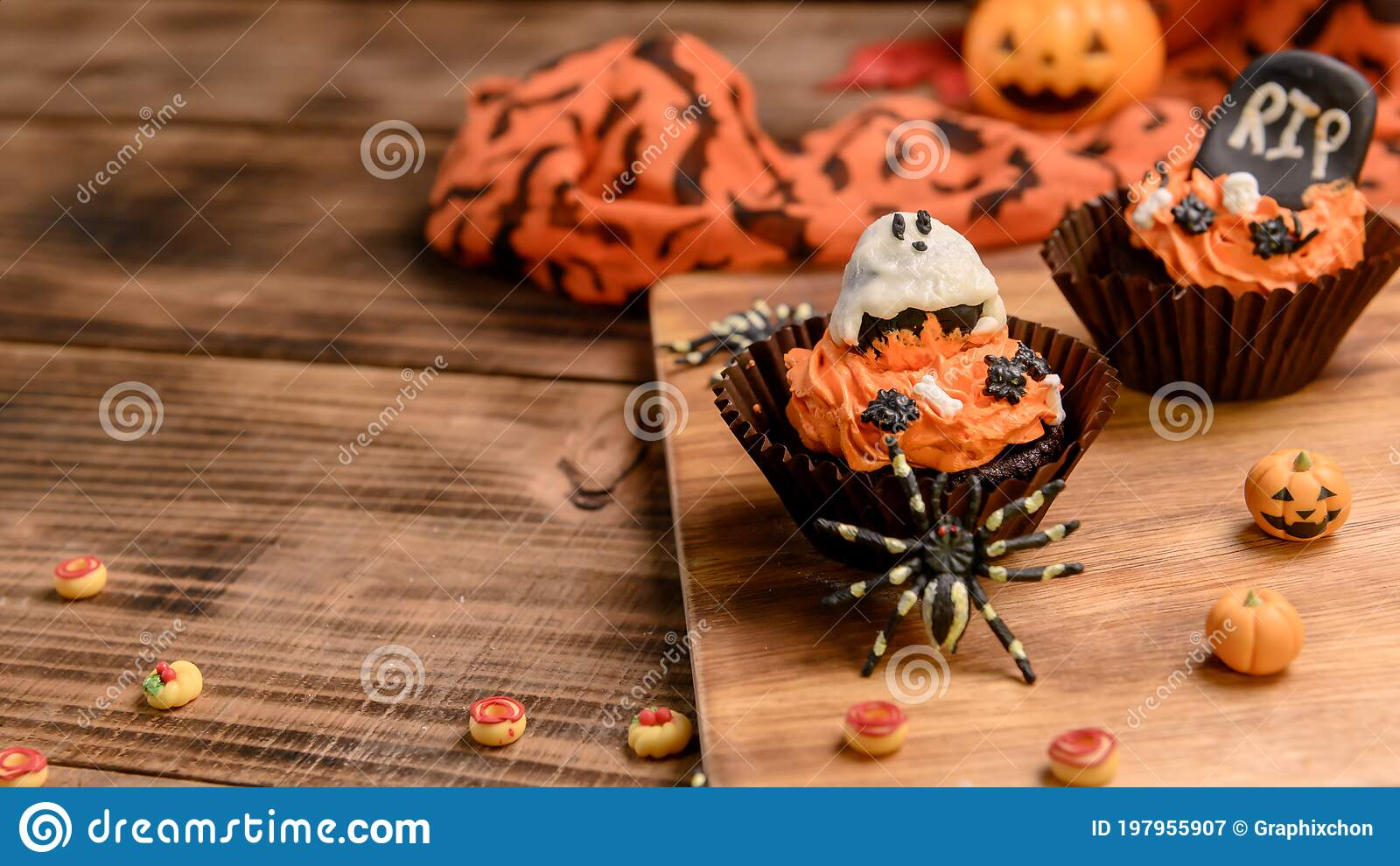 Cooking Delicious Homemade Cake And Decorate Cupcake For Halloween Festive Sweet Dessert And Decoration For Party Stock Image Image Of Chef Celebration 197955907
