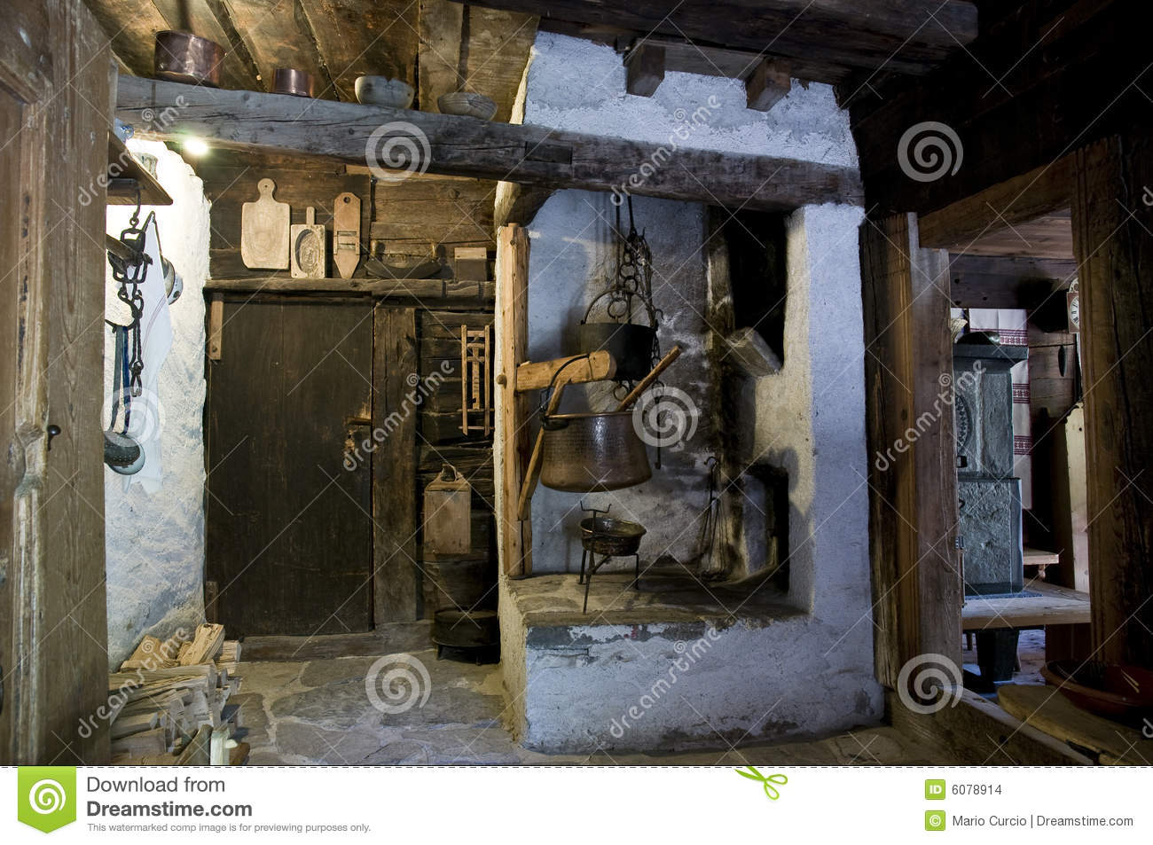 cooking on fireplace stock images image 6078914