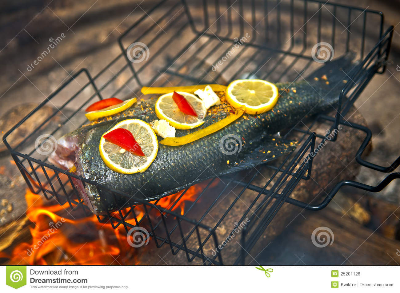 Cooking fish over open fire stock photo image 25201126 for Fish on fire