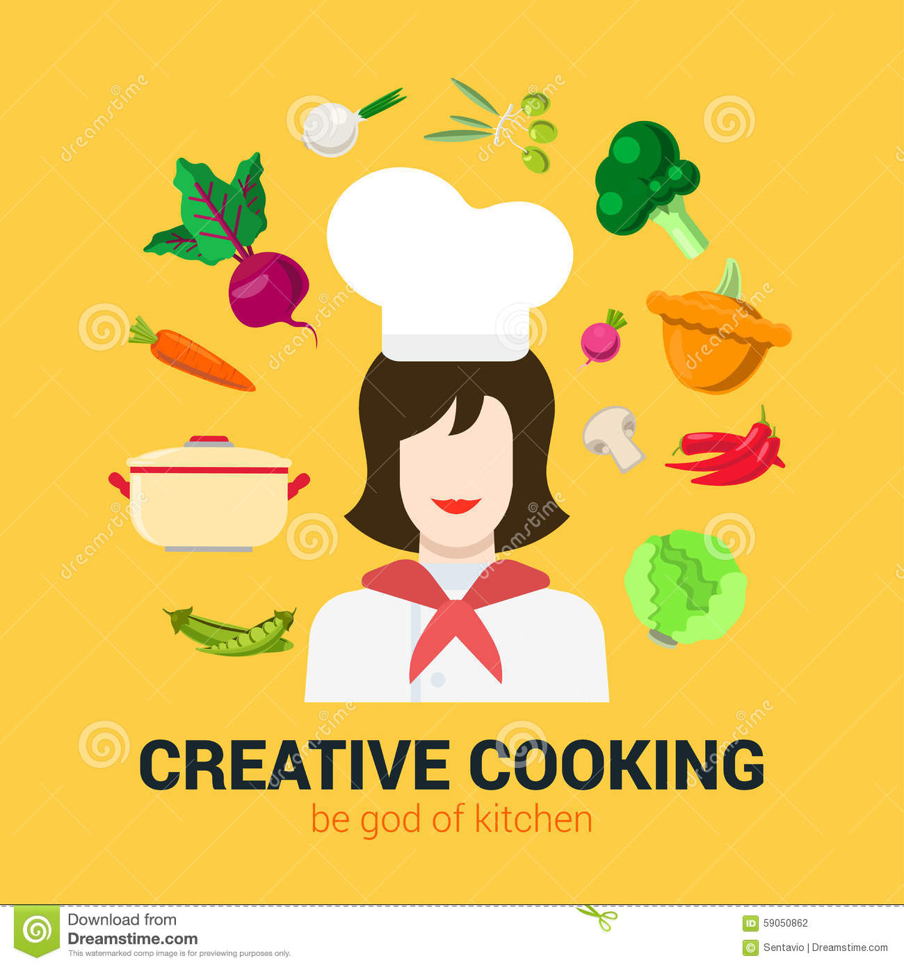 Kitchen Art Logo: Cooking Flat Vector Logo Concept: Cook Chief, Food