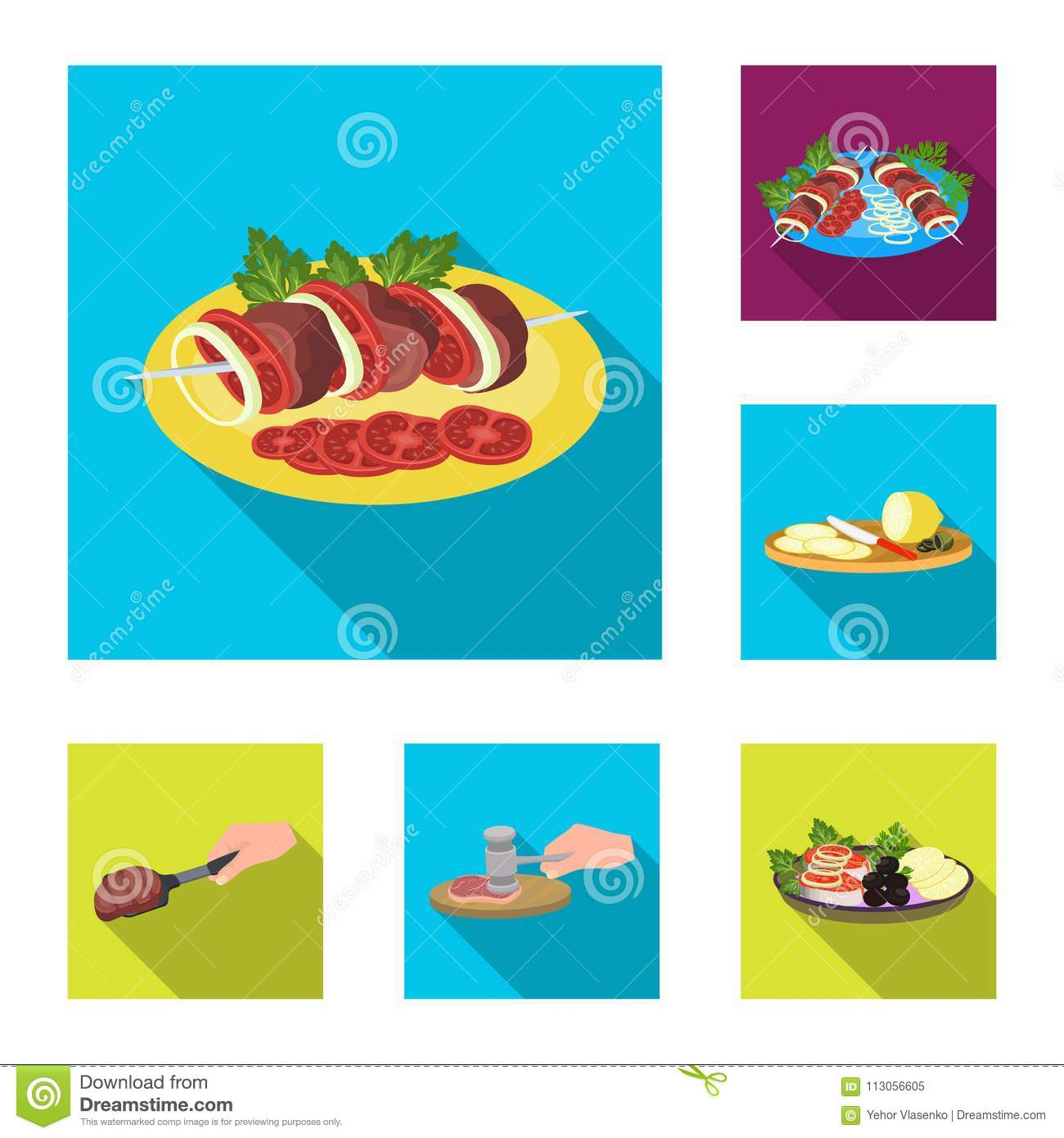 Cooking Food Flat Icons In Set Collection For Design. Kitchen ...