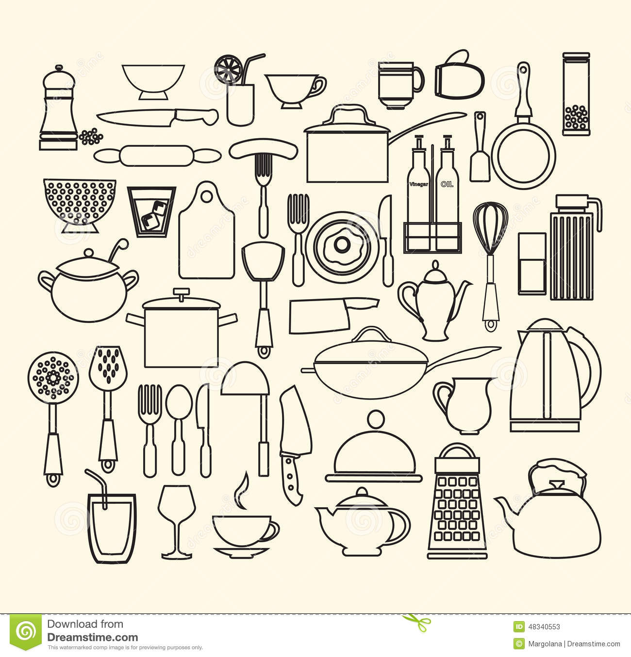 Restaurant and foods outline icons set cartoon vector for Kitchen set vector