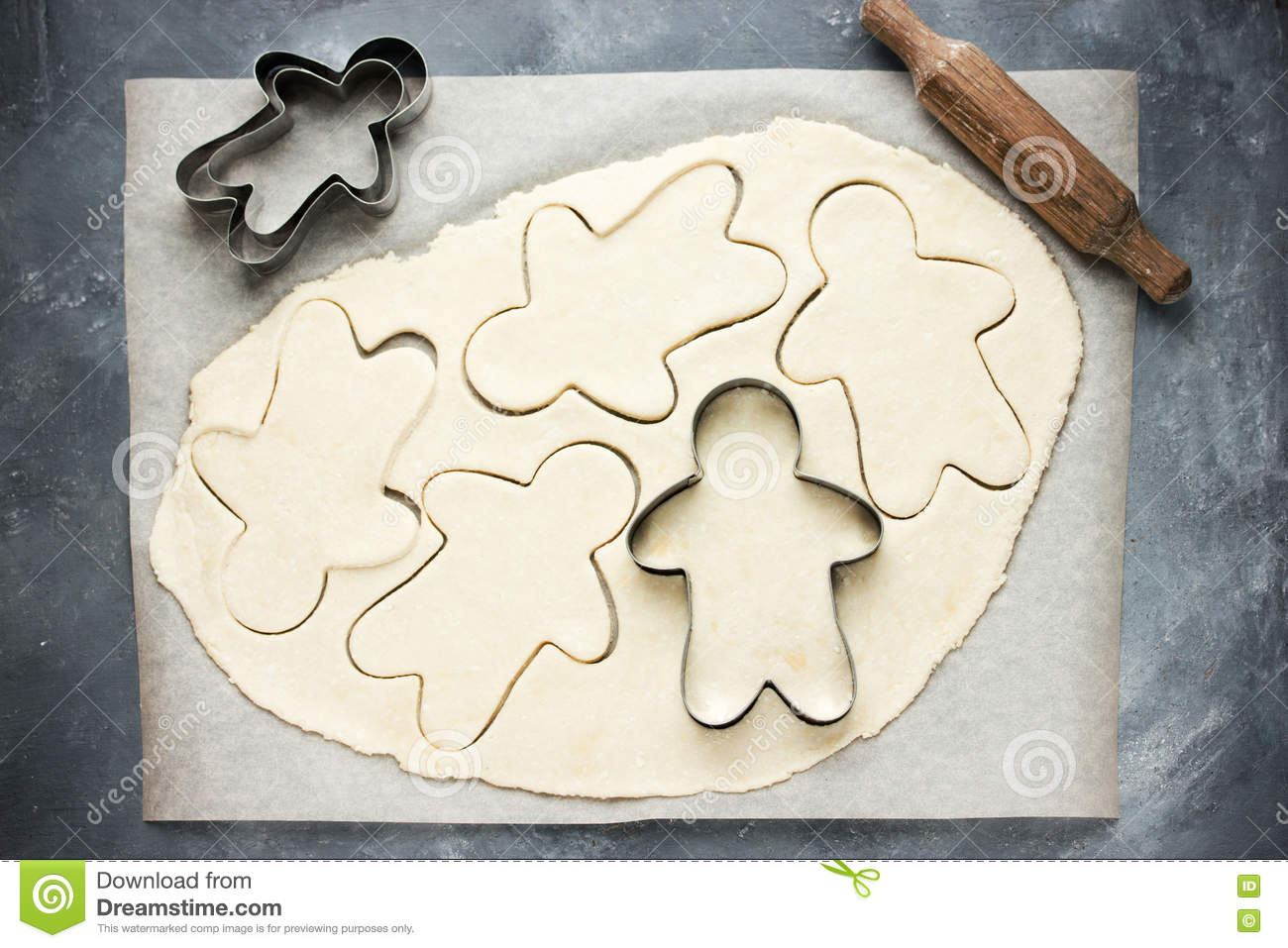 Cooking Gingerbread Man Christmas Cookies Stock Image Image Of