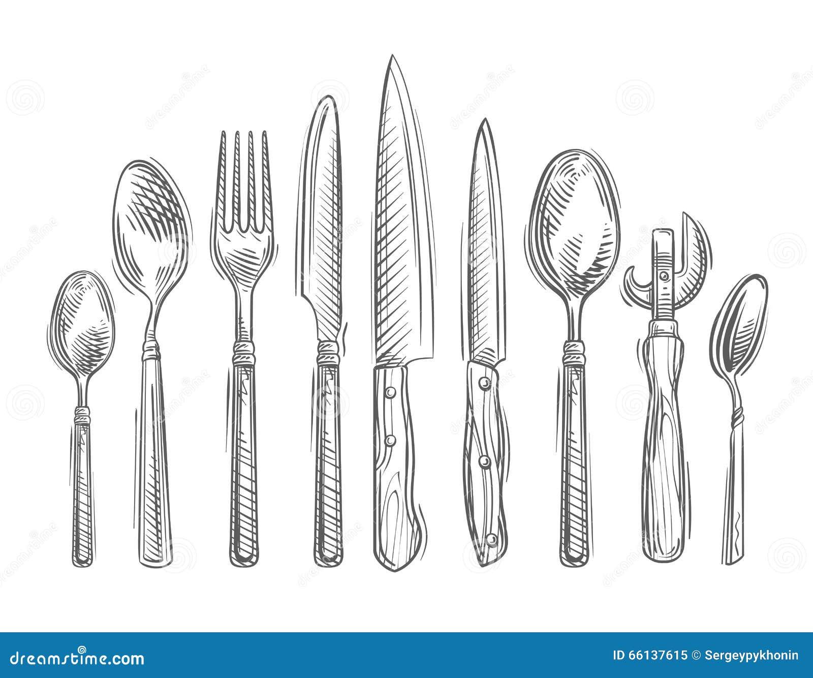 Kitchen tools drawing - Royalty Free Vector