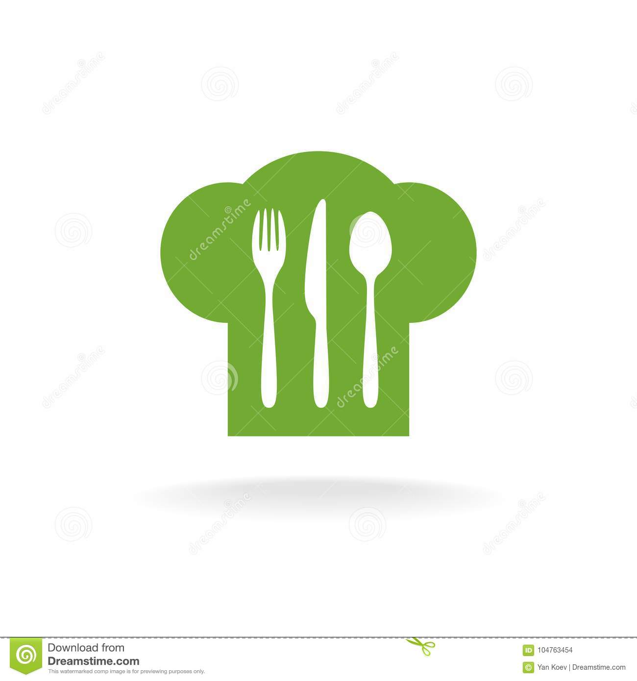 Cooking Hat Fork Knife And Spoon Symbol Stock Vector