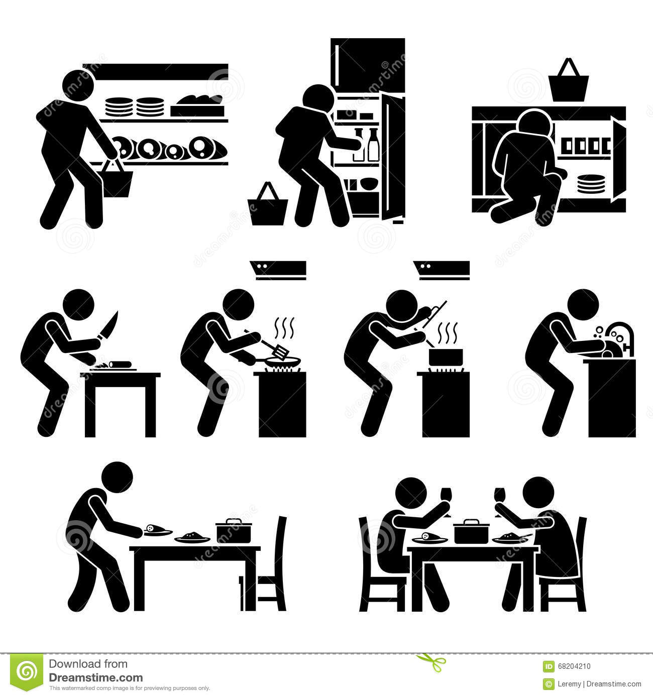 Cooking At Home And Preparing Food Clipart Stock Vector - Image ...