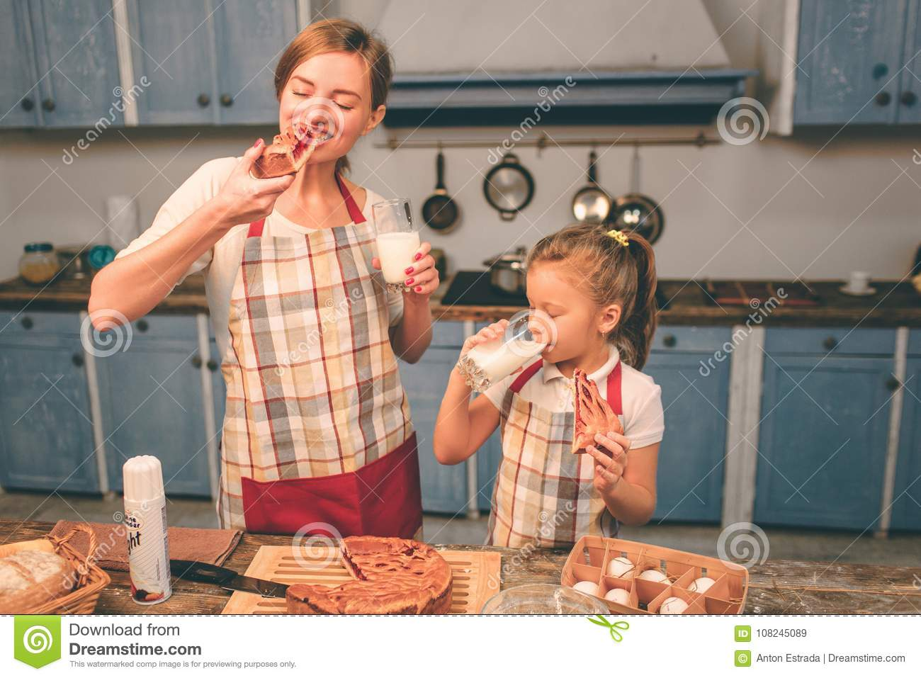 Cooking Homemade Cakes Happy Loving Family Are Preparing Bakery Together Mother And Child Daughter Having Fun In The Kitchen Eat Fresh Cake