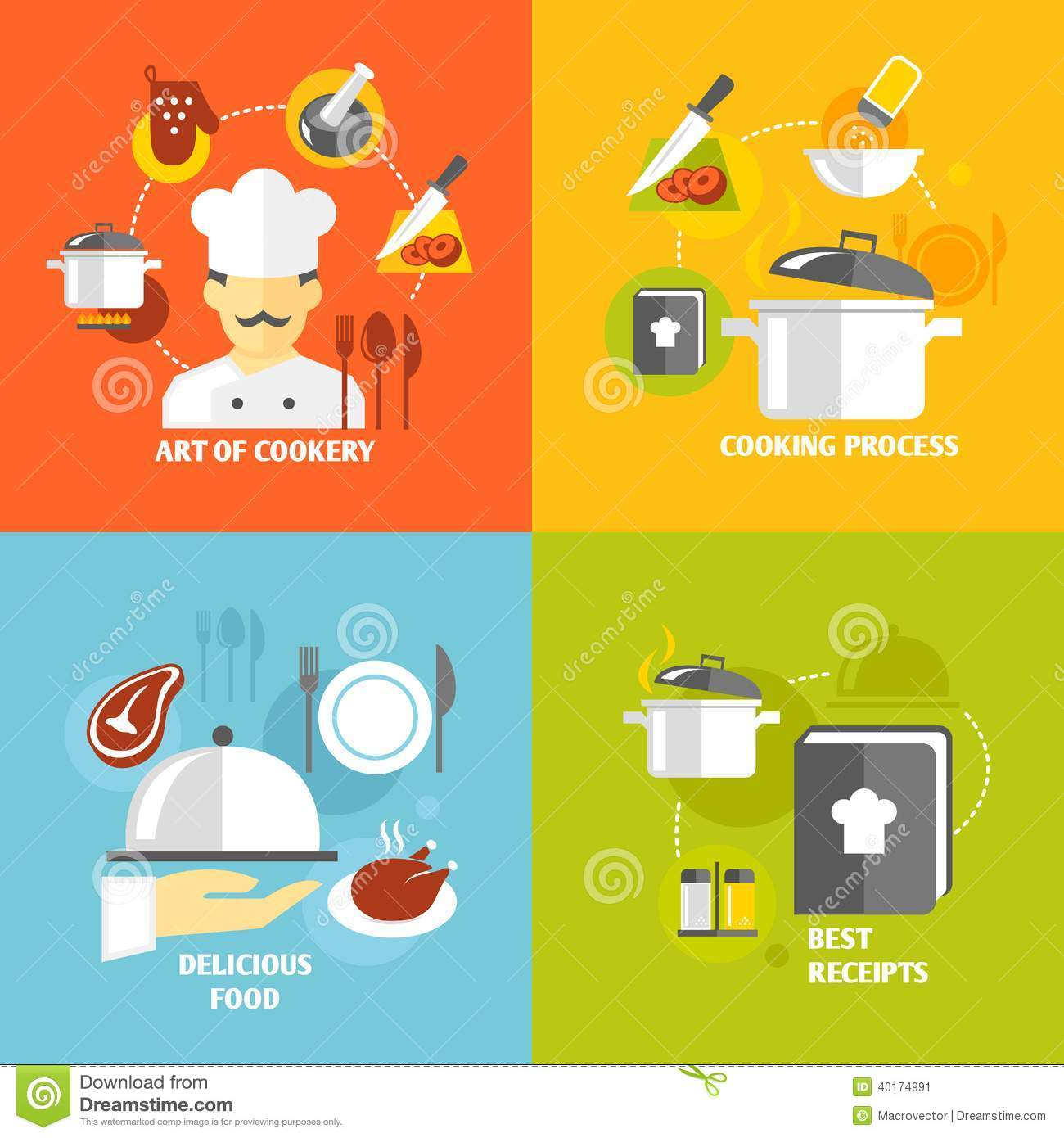 Cooking Icons Flat Stock Vector Image 40174991