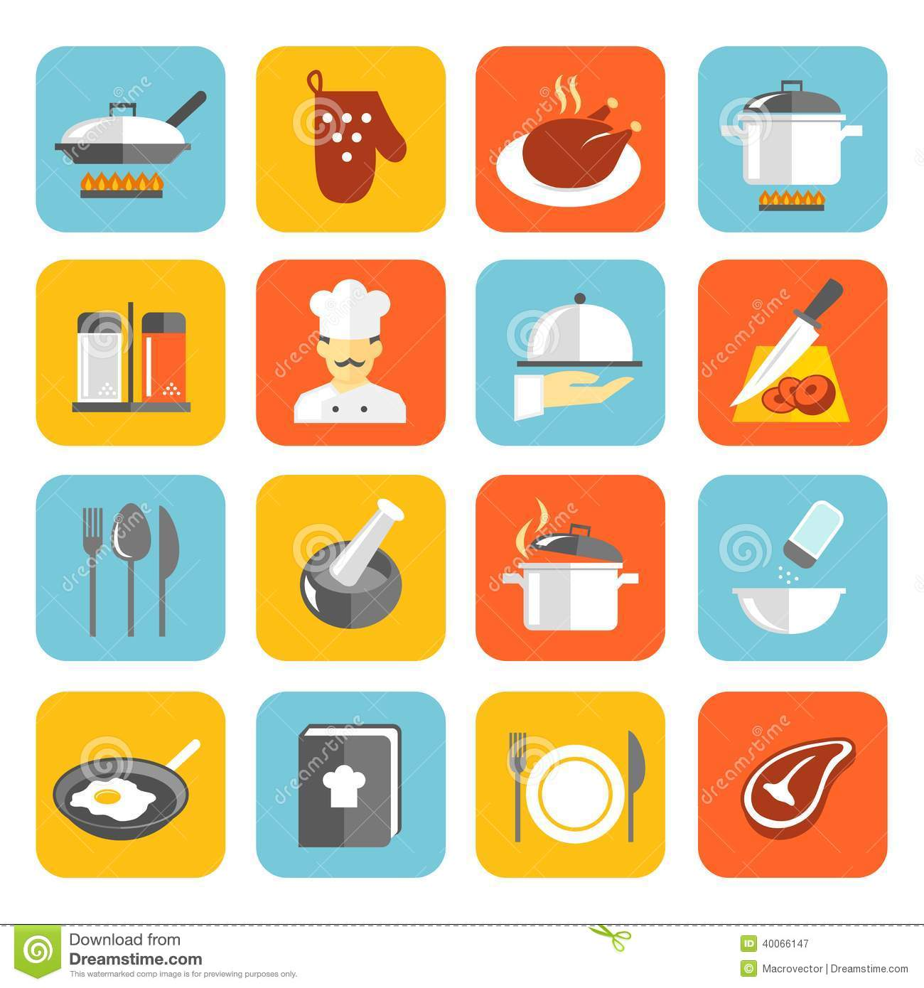 Cooking icons flat stock vector image 40066147 - Utensilios de chef ...