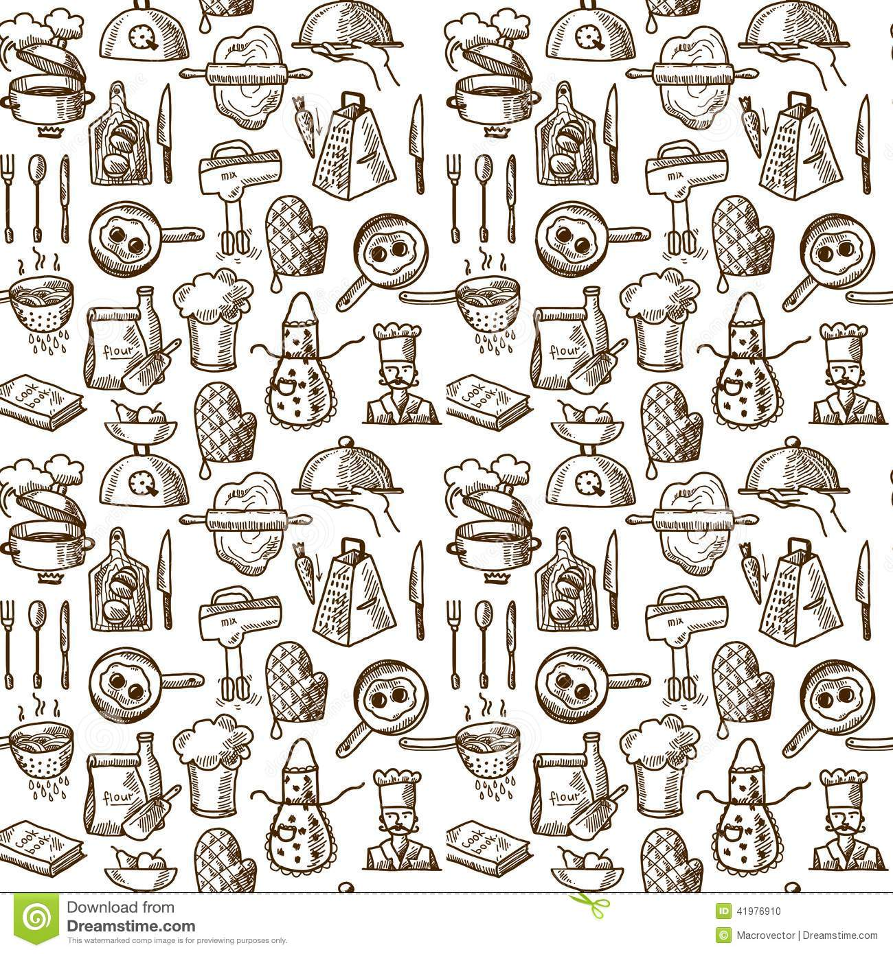 Book Cover Illustration Process : Cooking icons seamless pattern stock vector illustration
