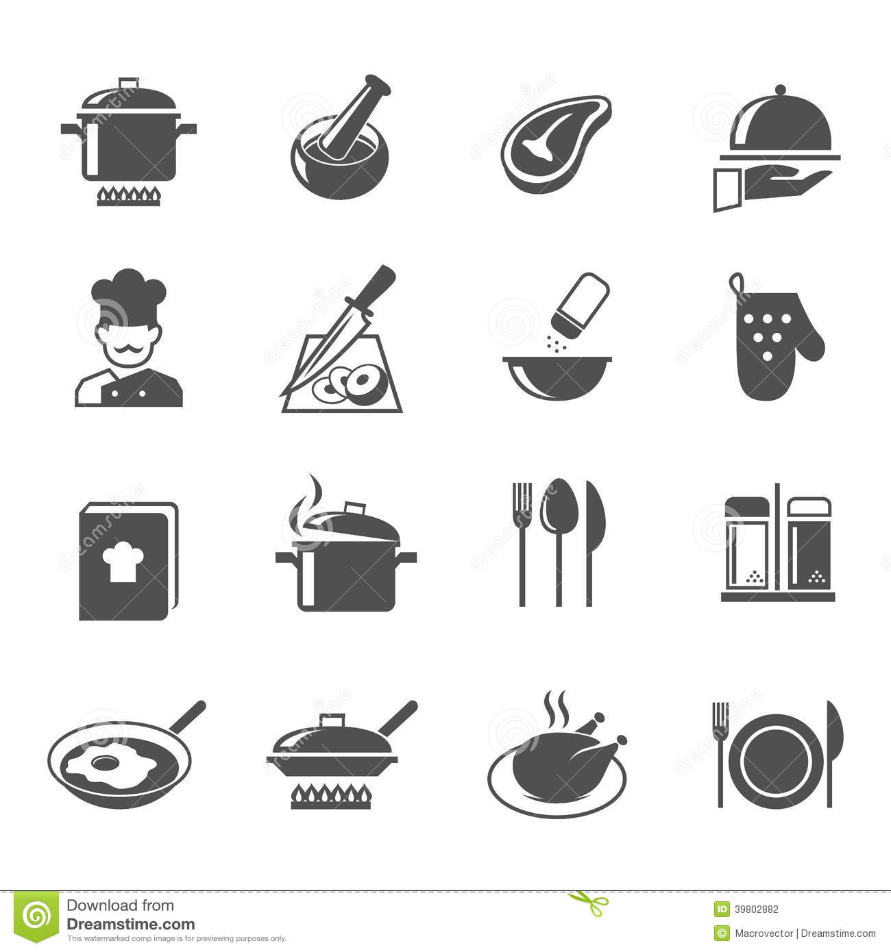 Set Of Black Kitchen Icons Utensils Stock Vector: Cooking Icons Set Stock Vector. Illustration Of Chef