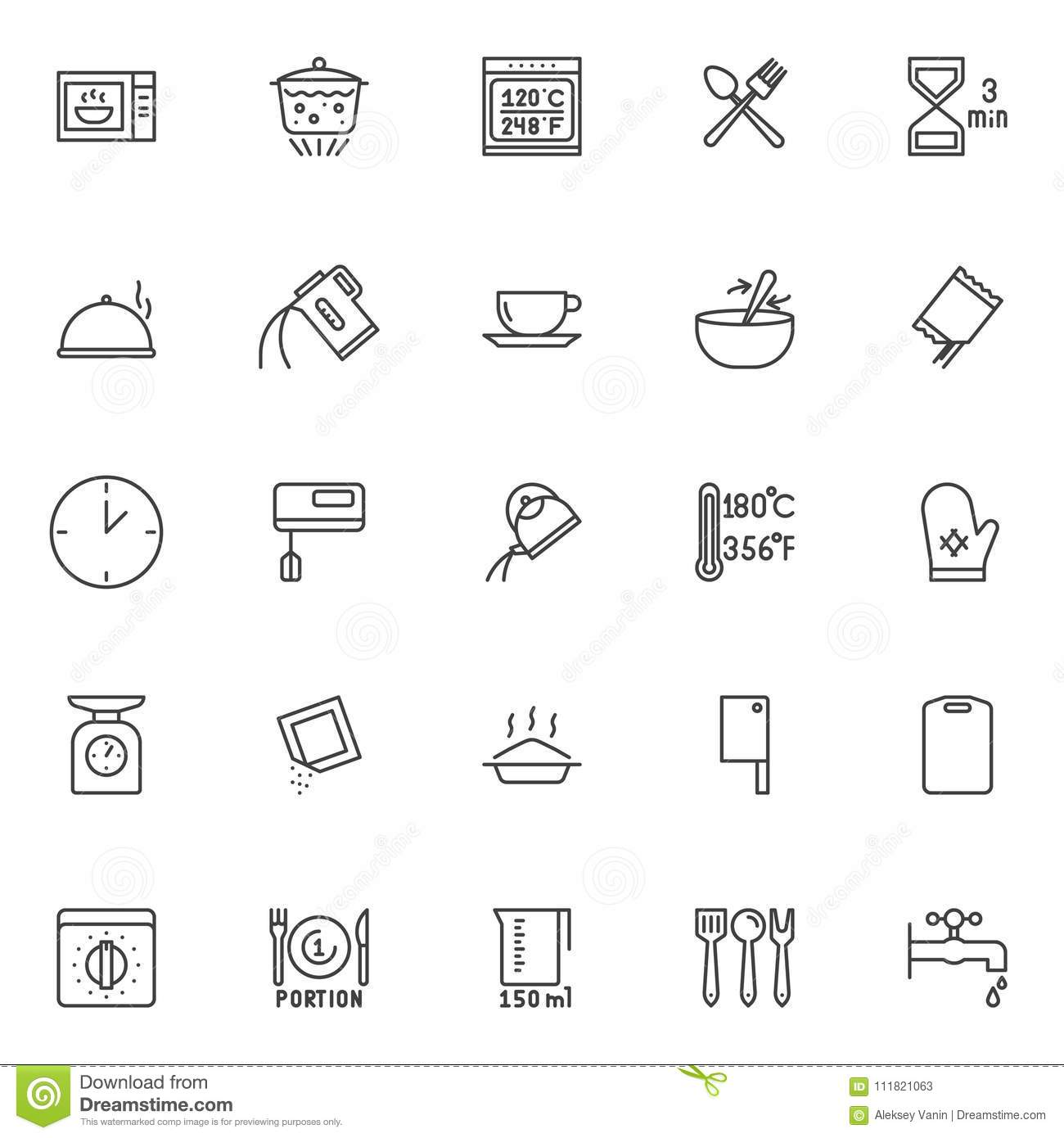 Cooking Instructions And Kitchenware Outline Icons Set Stock Vector