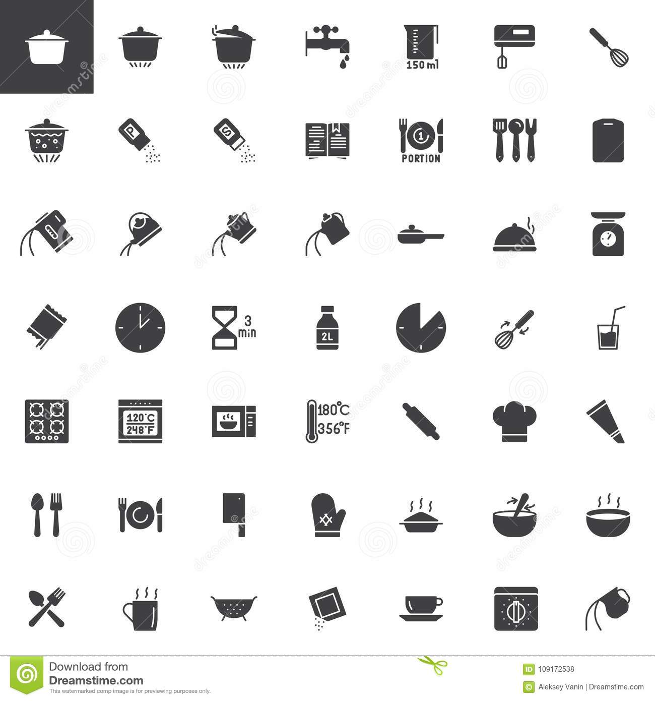 Cooking Instructions Vector Icons Set Stock Vector Illustration Of