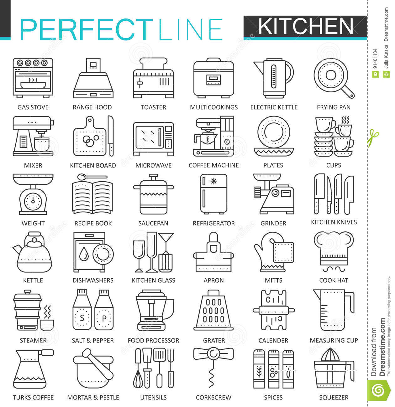 kitchen design symbols set of flat design thin line food and cooking icons 932