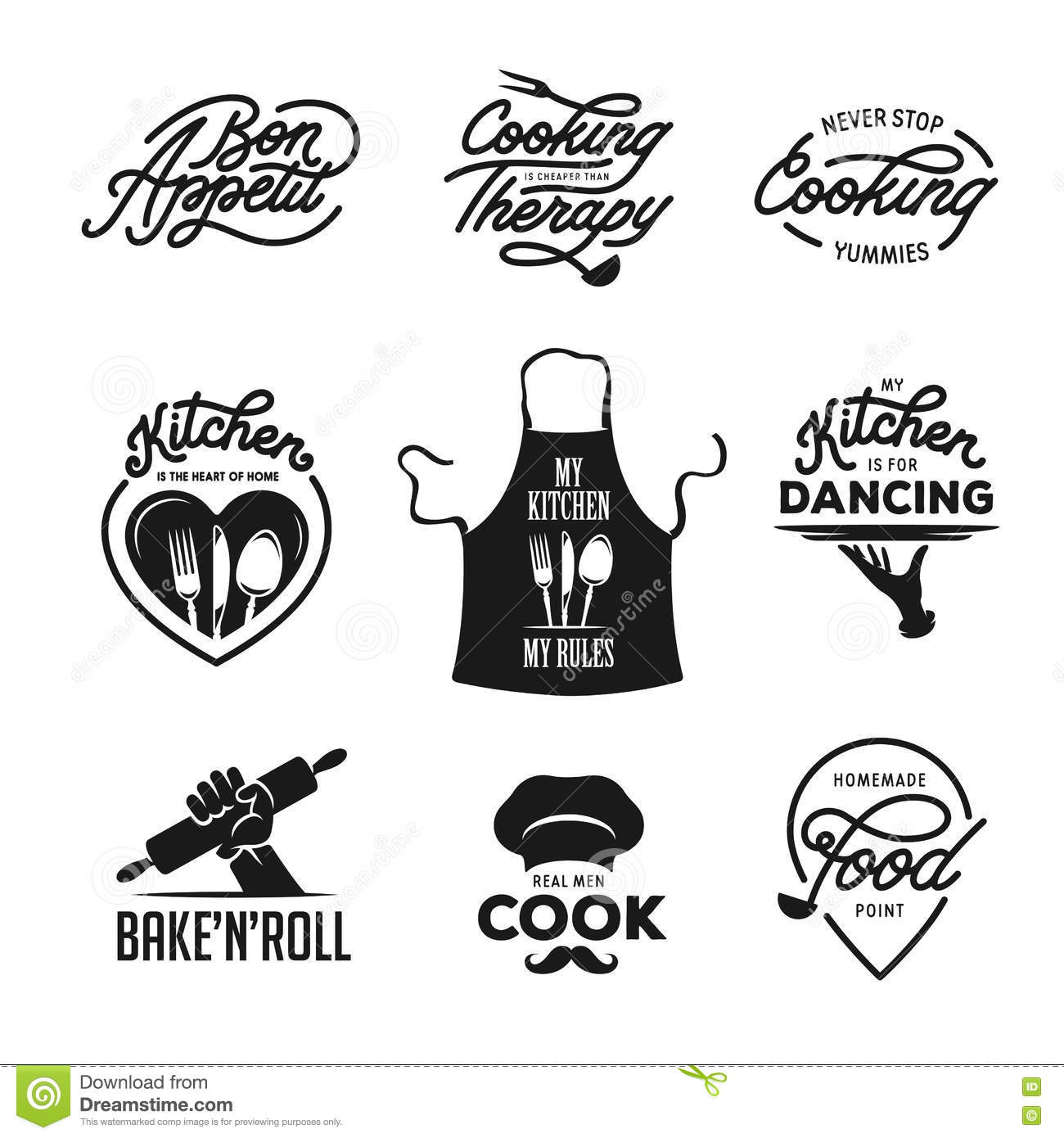 Poster design elements - Cooking And Kitchen Related Quotes Set Poster Design Elements Vintage Vector Illustration Stock