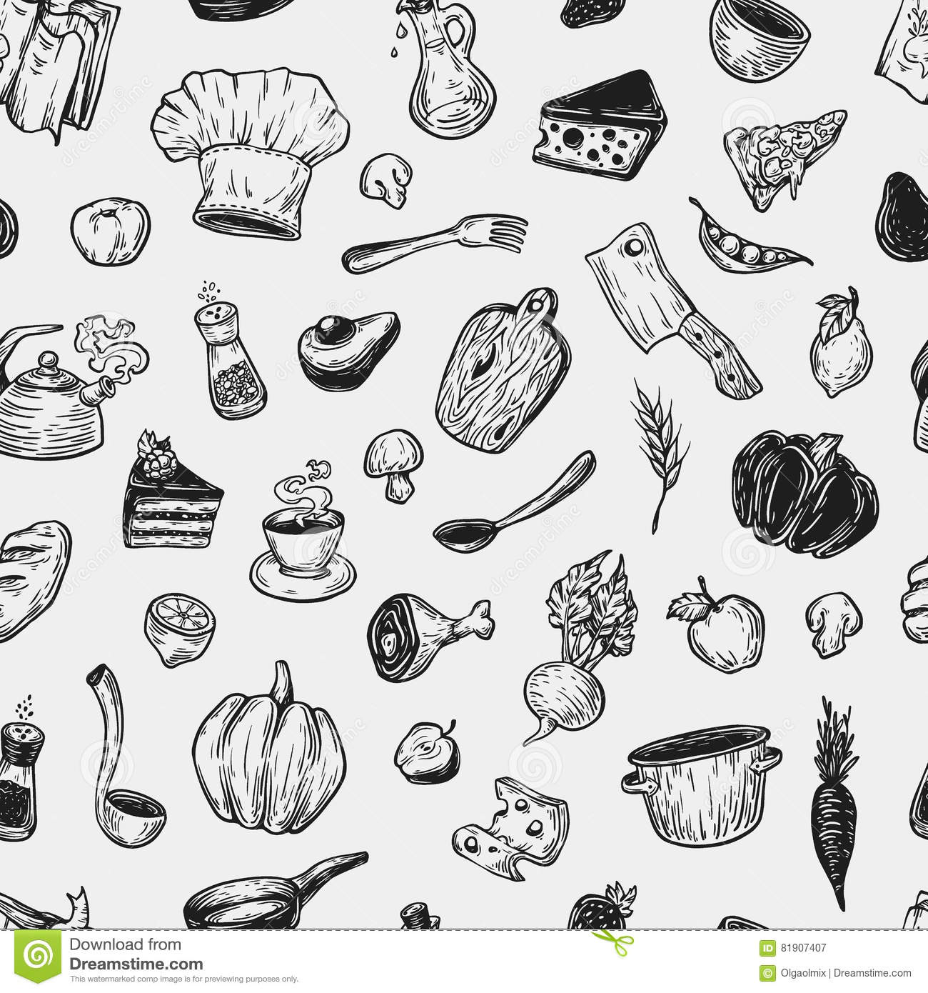 Cooking And Kitchen Tools. Pattern Stock Vector - Illustration of ...