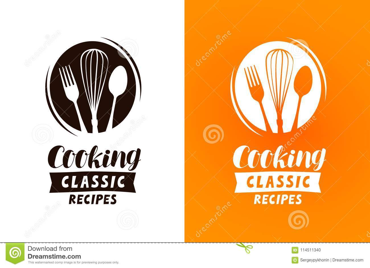 Cooking logo or label. Food, cuisine concept, vector illustration